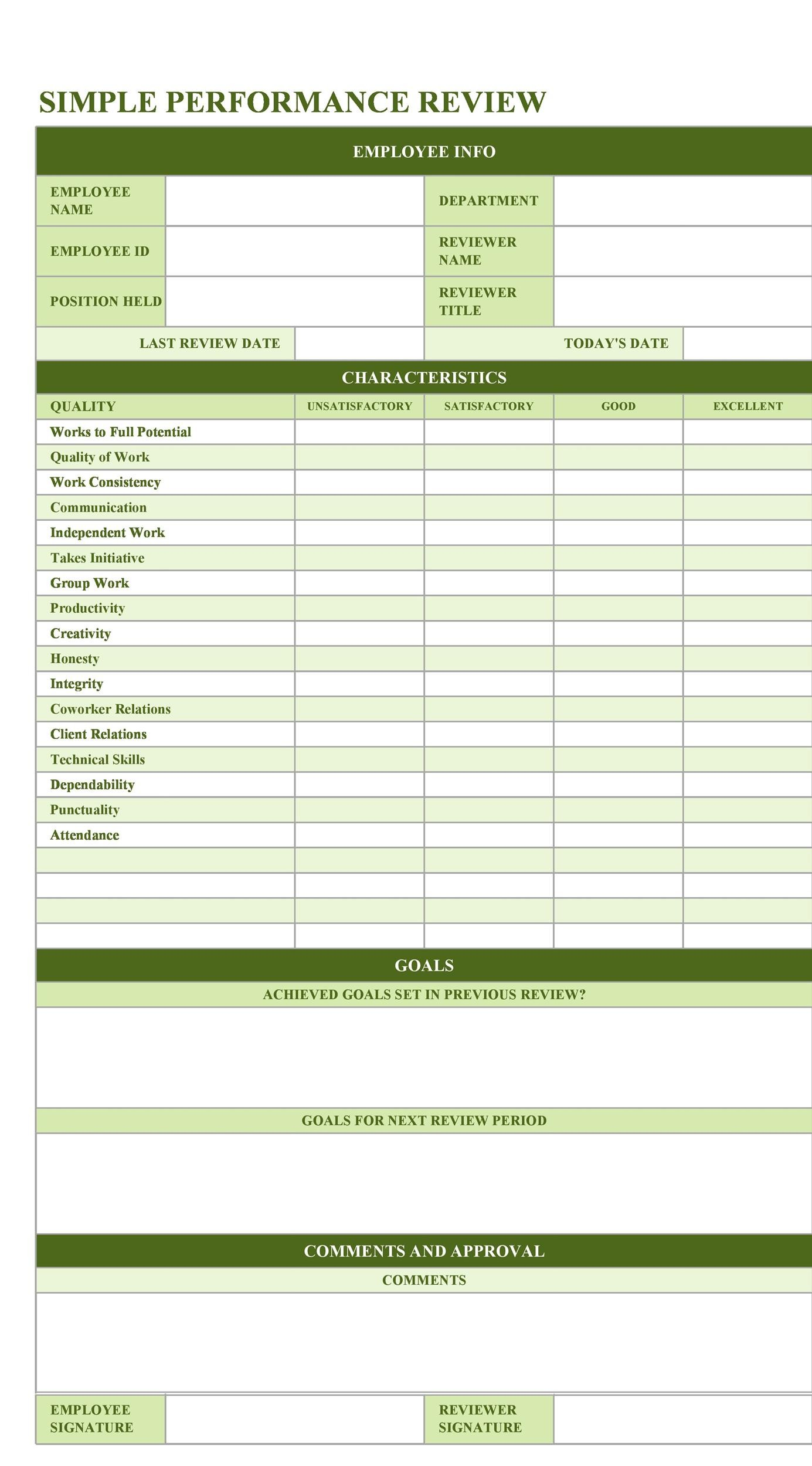 46 Employee Evaluation Forms Amp Performance Review Examples