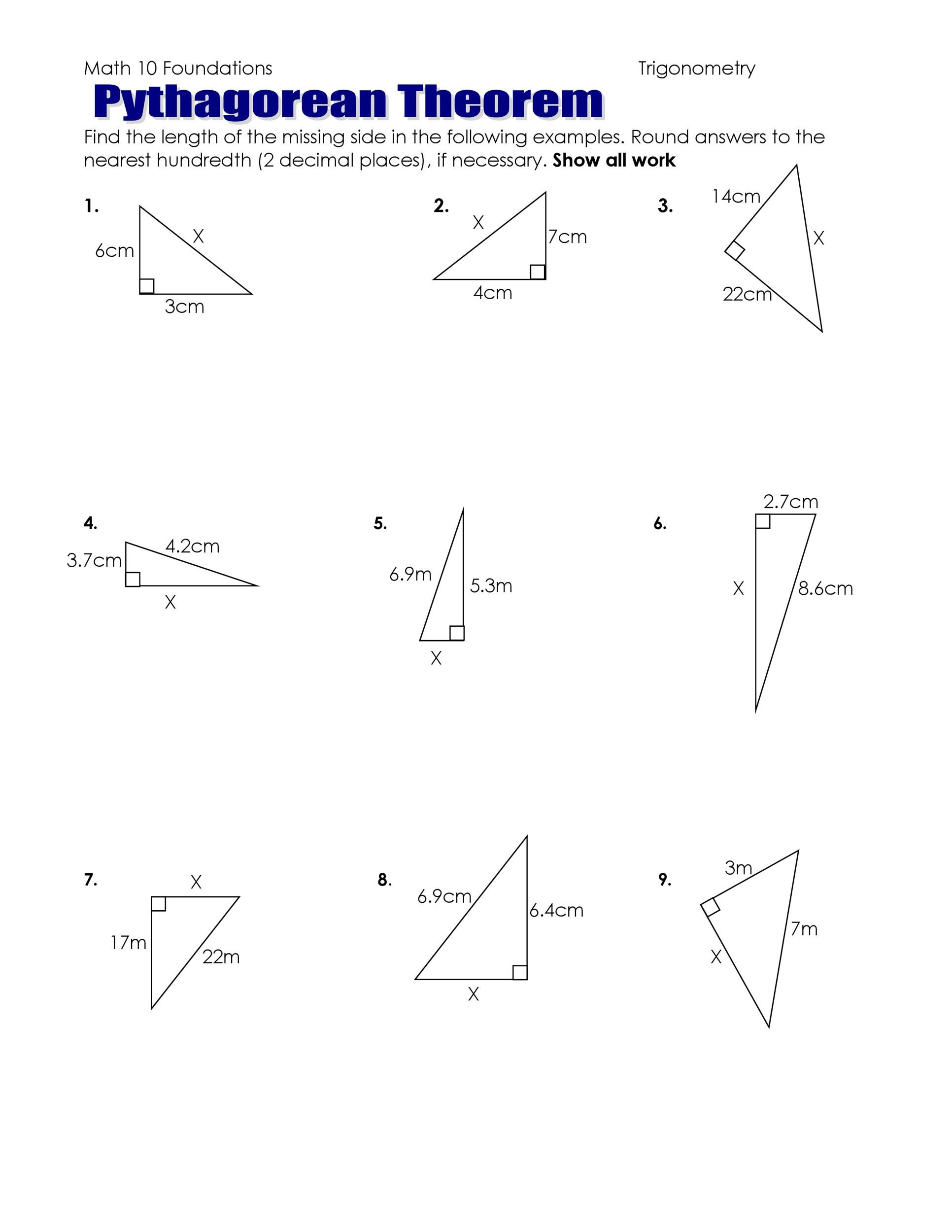 29 Geometry Pythagorean Theorem Worksheet Answers
