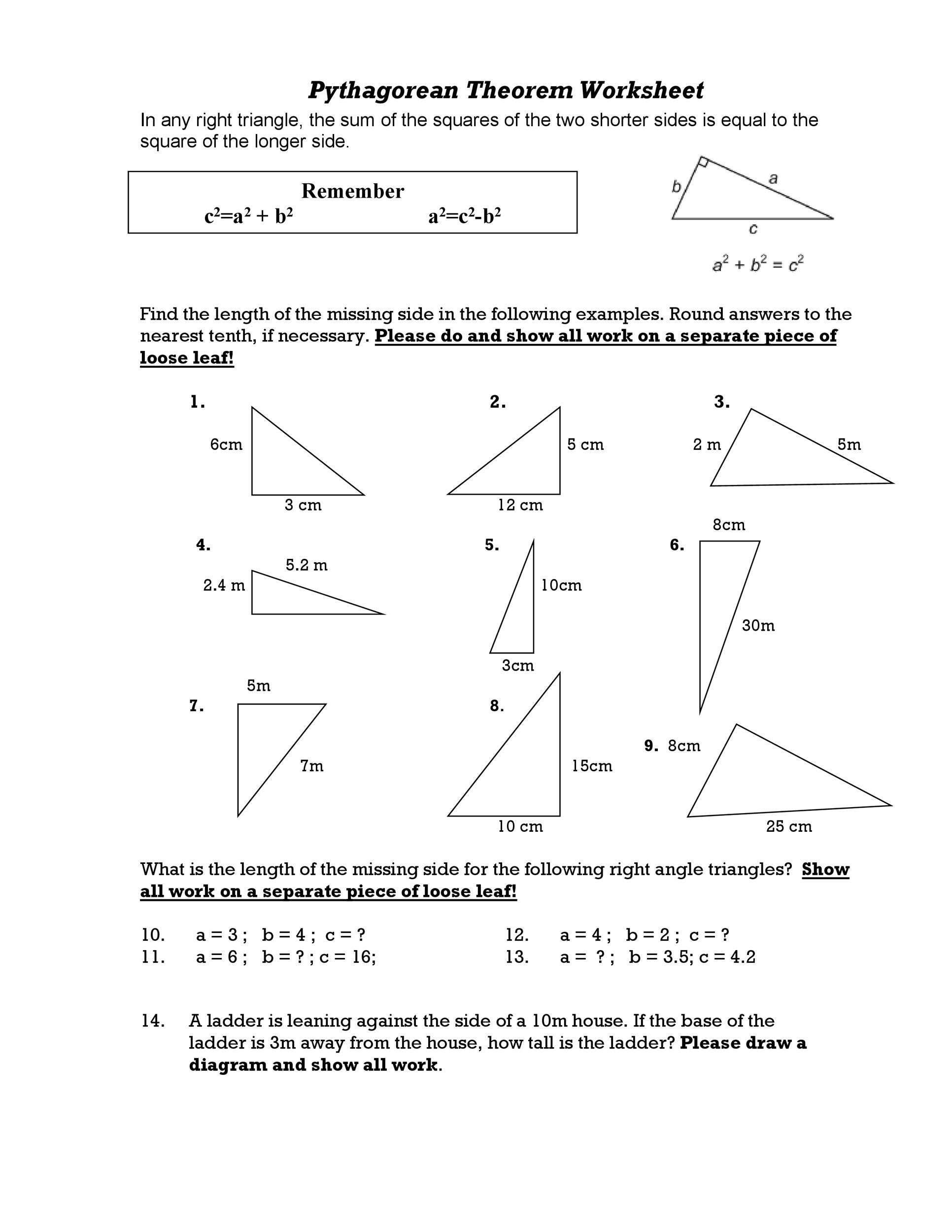 Pythagoras Theorem Worksheets Download