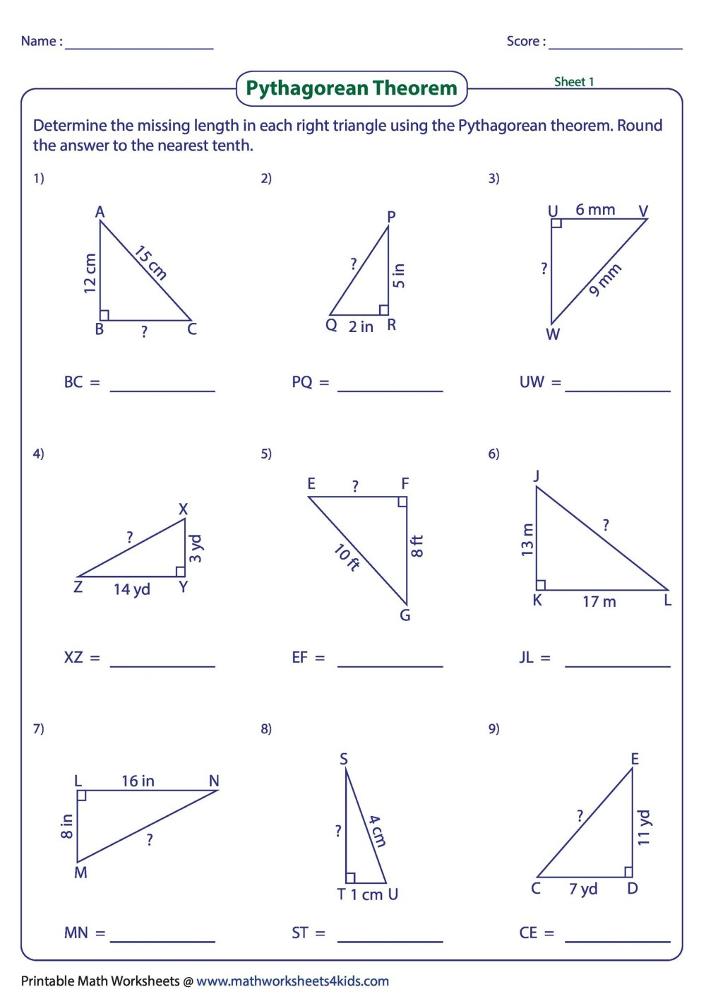 medium resolution of 34 Pythagorean Theorem Worksheet Answer Key - Worksheet Project List