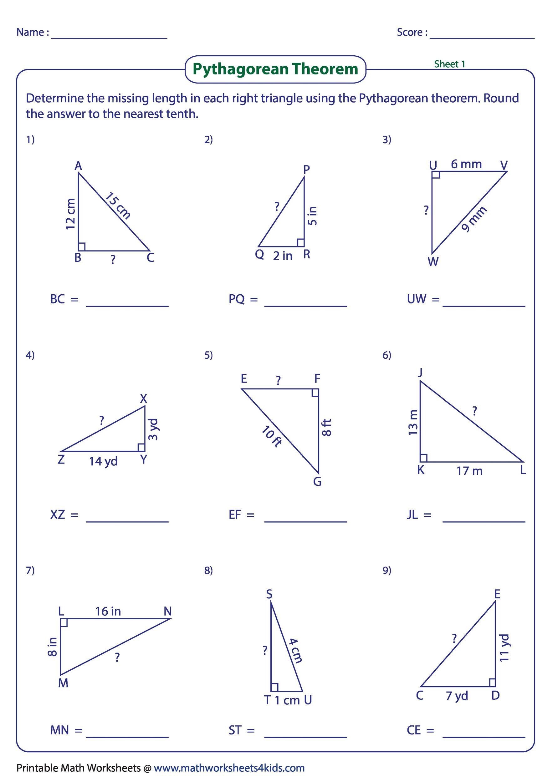 hight resolution of 34 Pythagorean Theorem Worksheet Answer Key - Worksheet Project List
