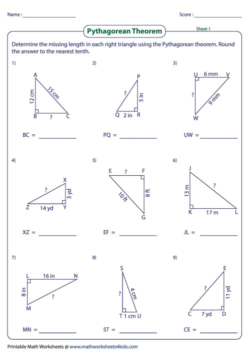 small resolution of 48 Pythagorean Theorem Worksheet with Answers Word + PDF