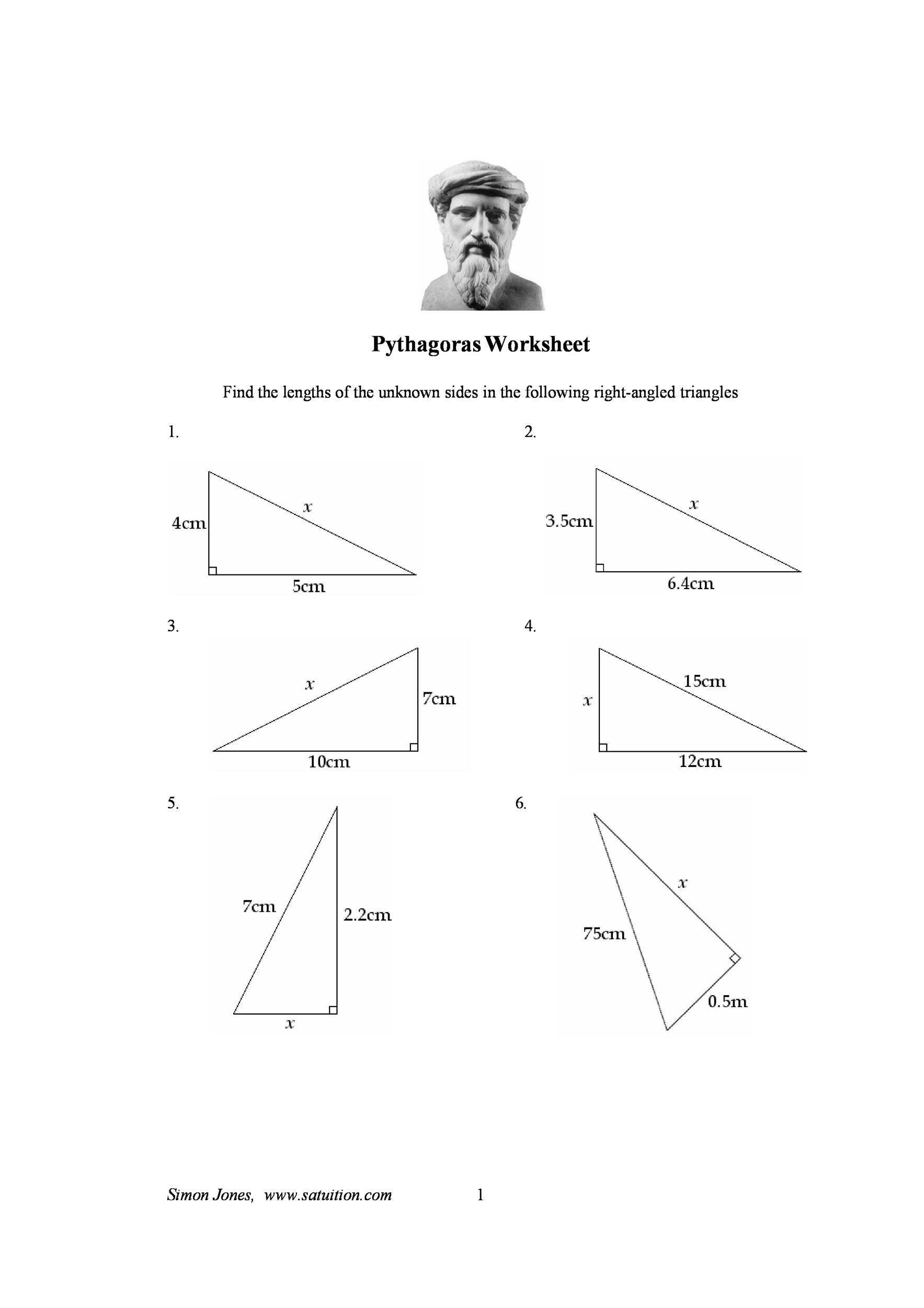 Pythagorean Theorem Worksheet With Answers Pdf
