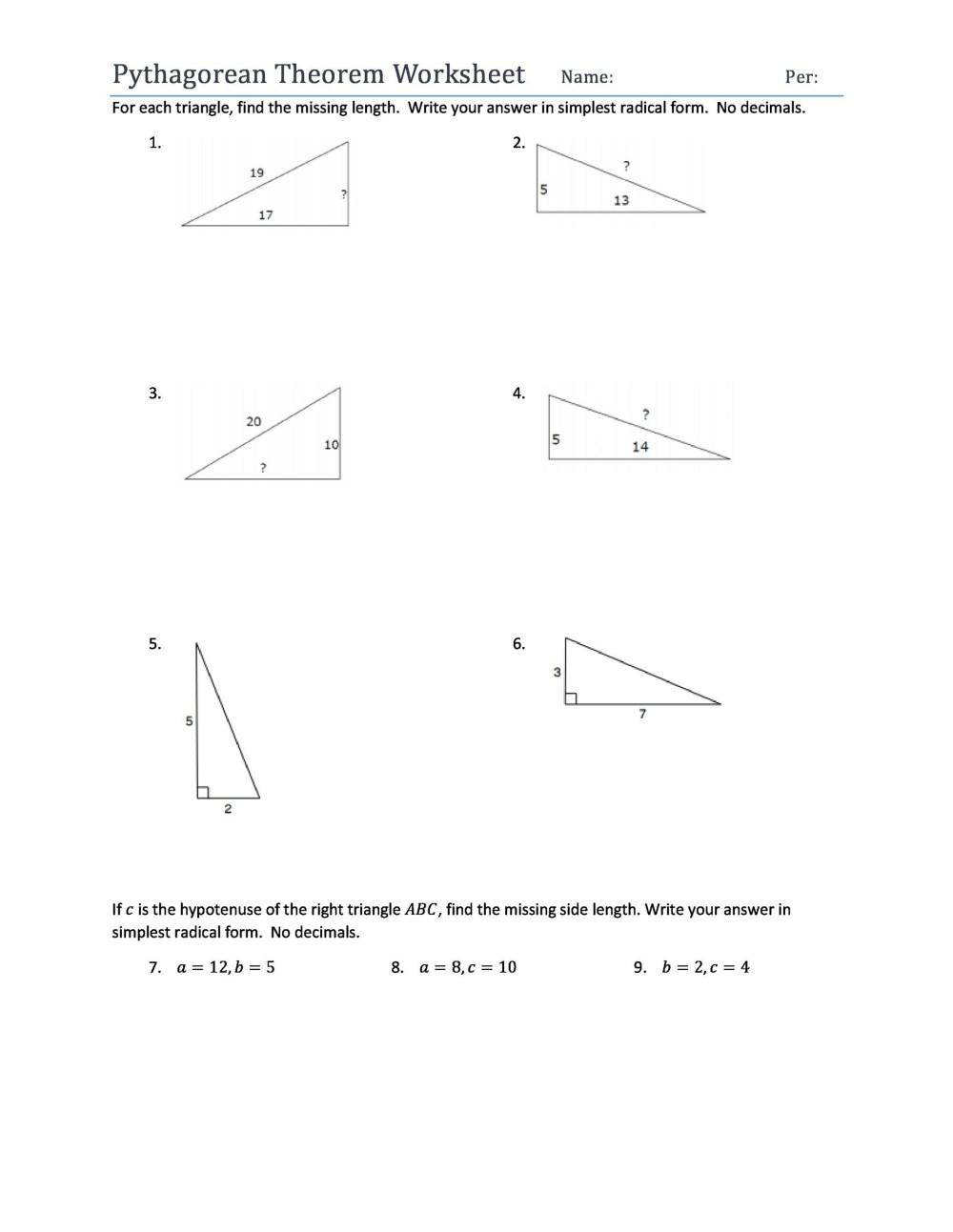 medium resolution of 48 Pythagorean Theorem Worksheet with Answers Word + PDF