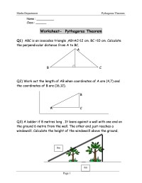 Pythagorean Theorem Word Problems Worksheets Photos ...