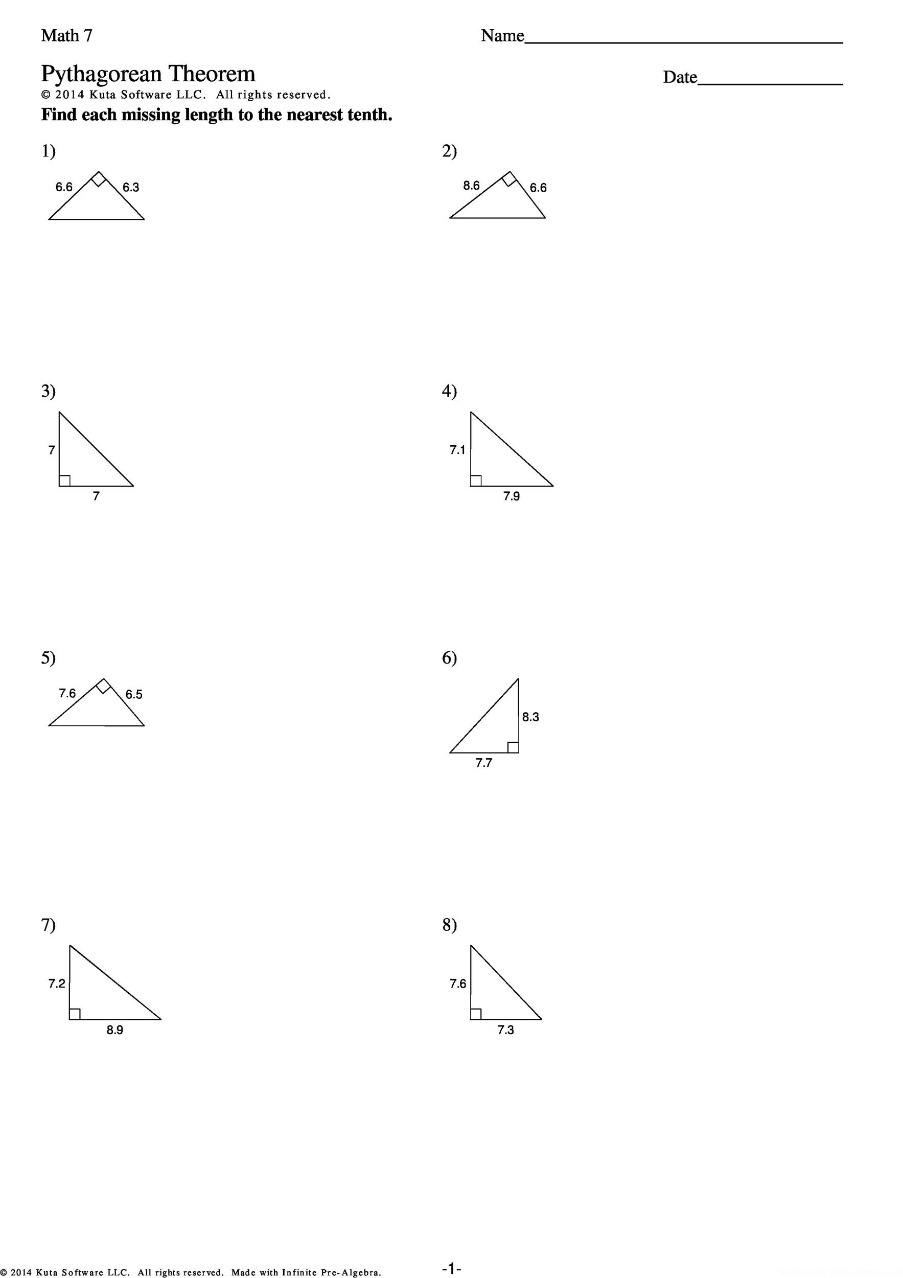 48 Pythagorean Theorem Worksheet With Answers Word