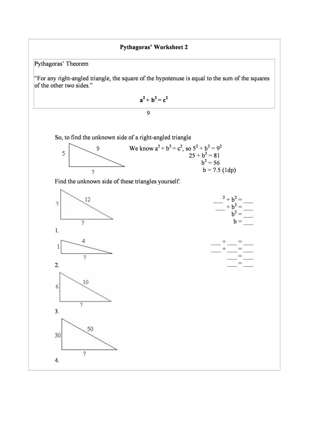 medium resolution of Pythagorean Theorem Maze Worksheet   Printable Worksheets and Activities  for Teachers