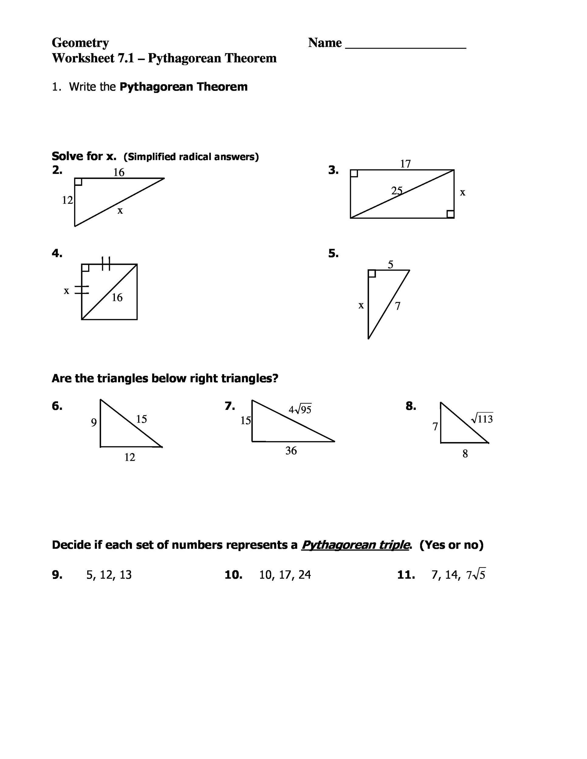 hight resolution of 48 Pythagorean Theorem Worksheet with Answers Word + PDF