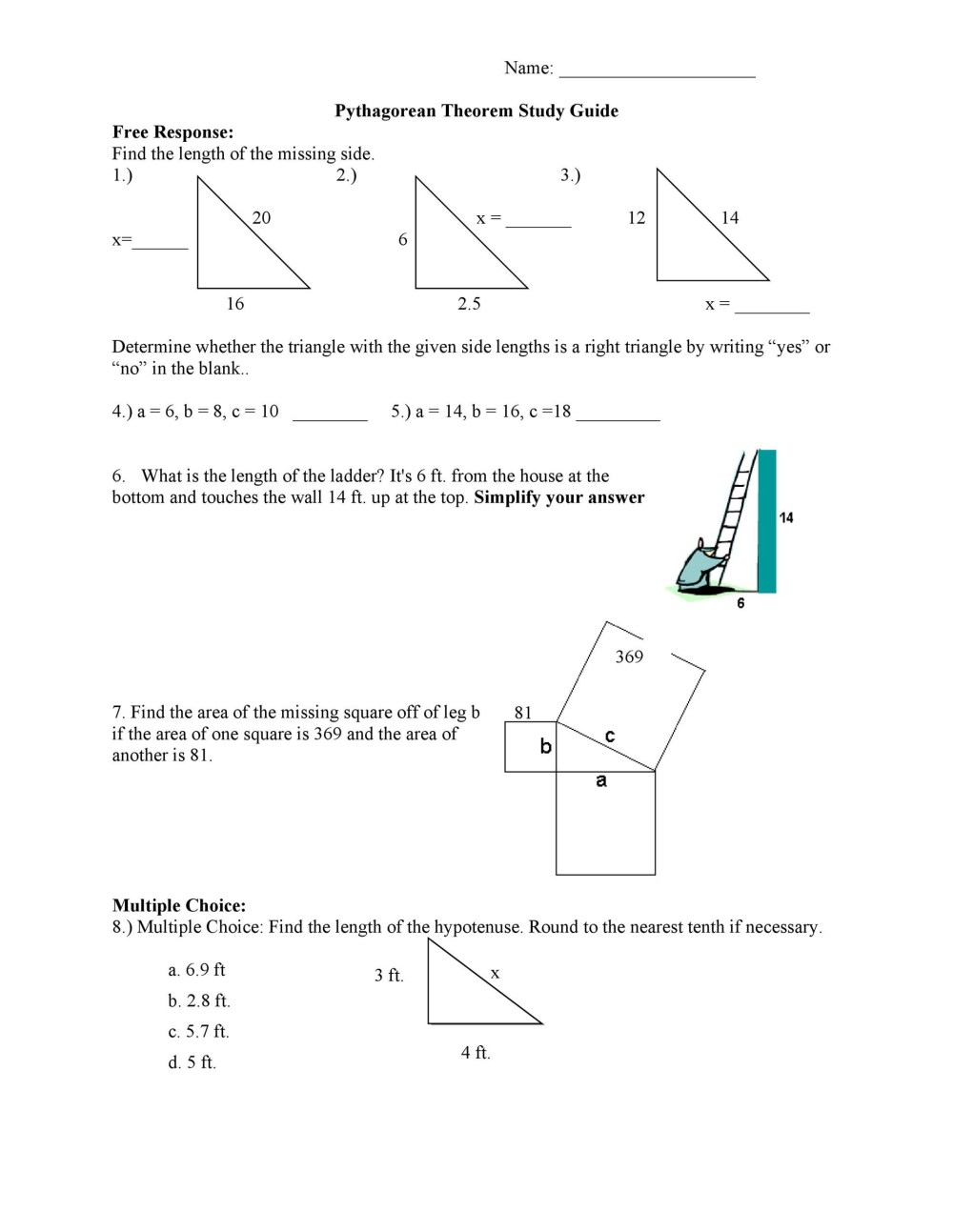 medium resolution of Pythagorean Theorem Word Problems Worksheet   Printable Worksheets and  Activities for Teachers
