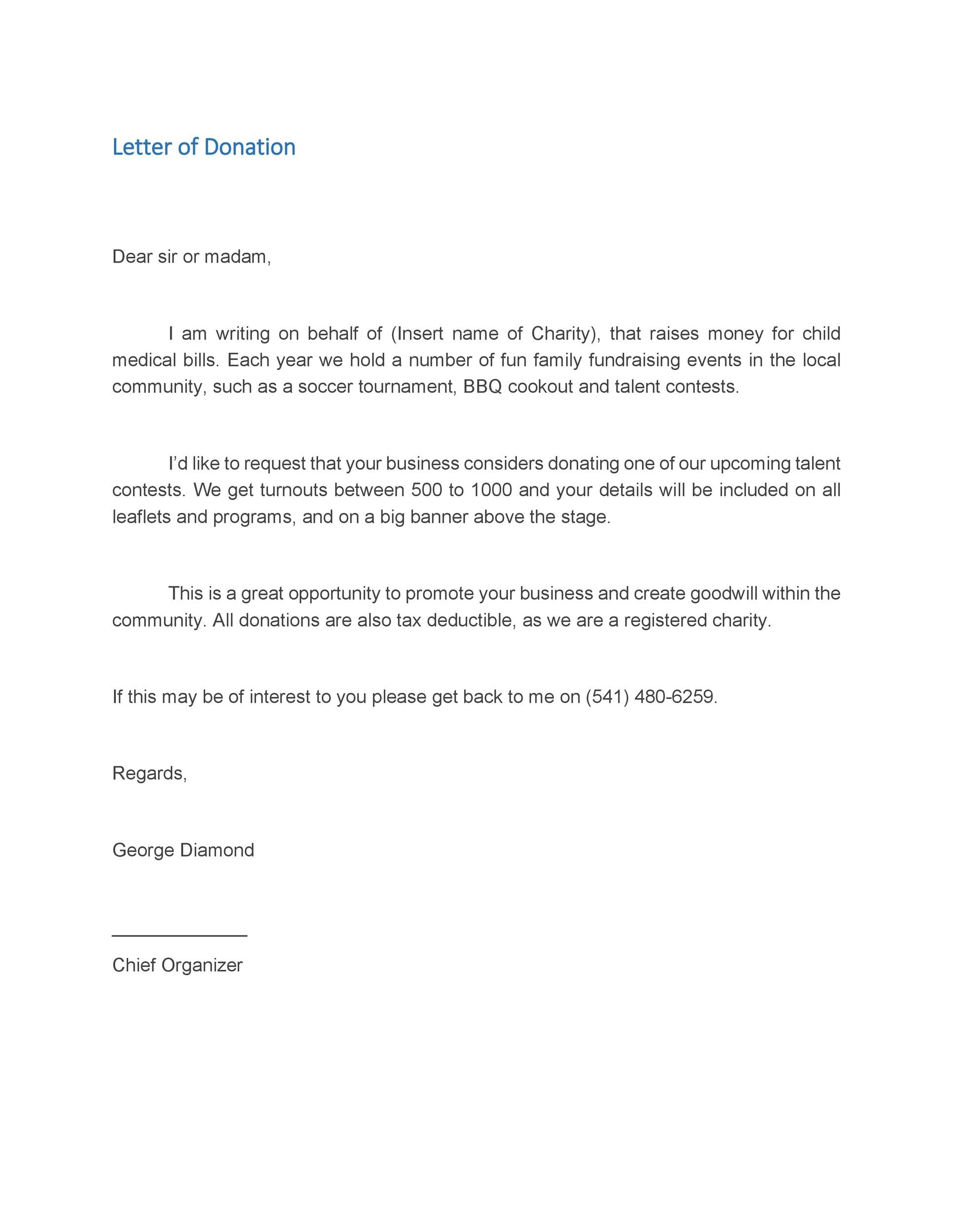 letter for money request