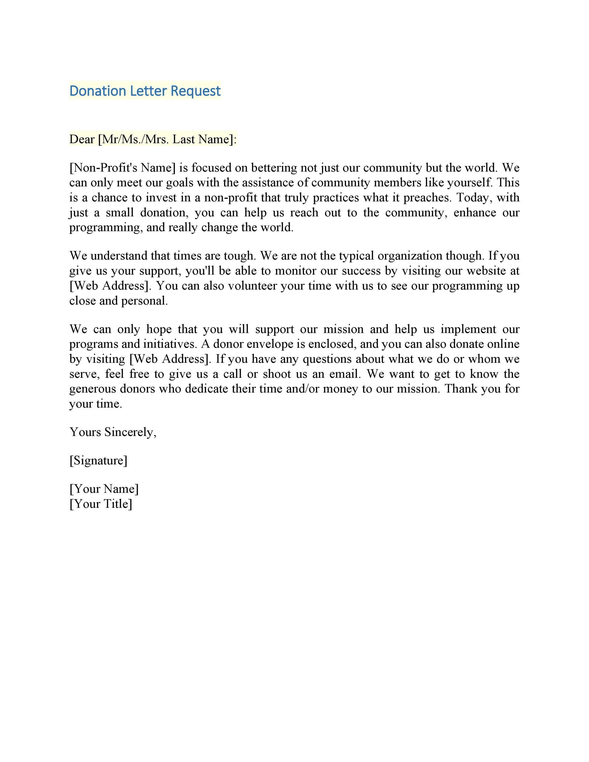 sample of donation letter for non profit organization