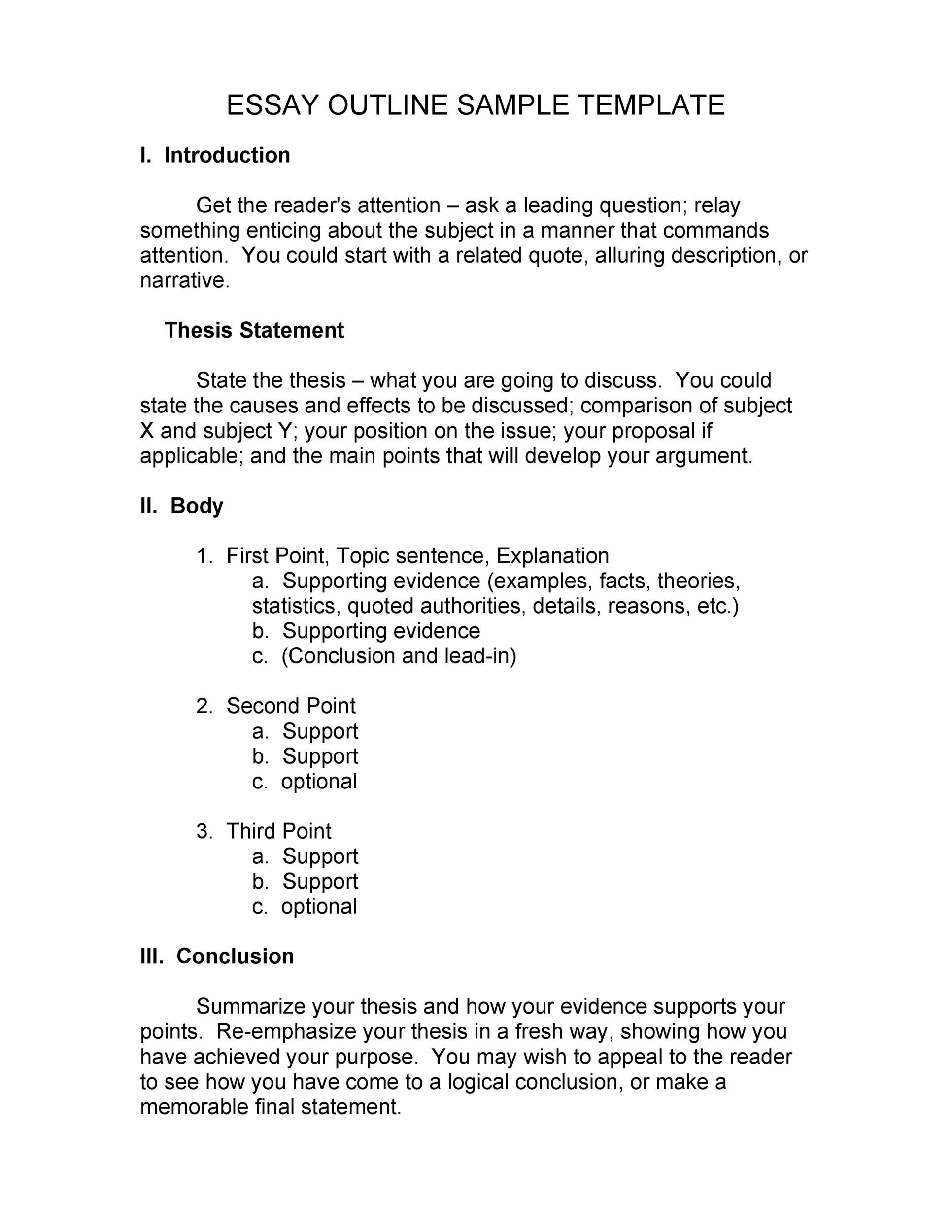 Creative Writing Outline Template
