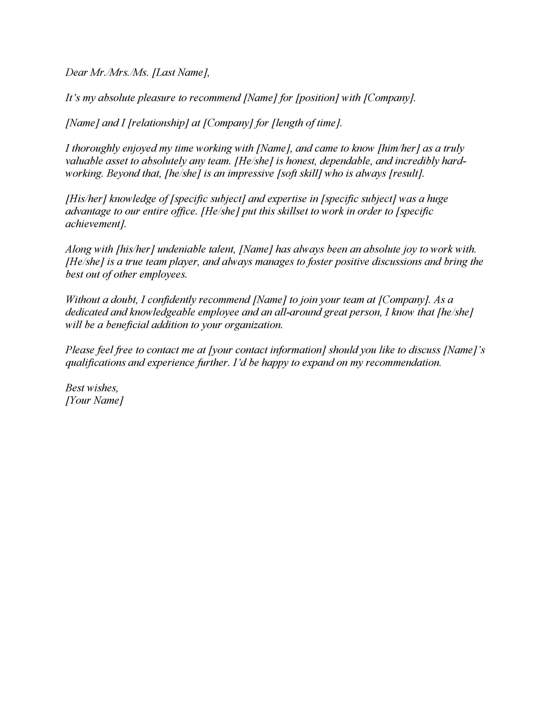 Free Letter Of Recommendation 01