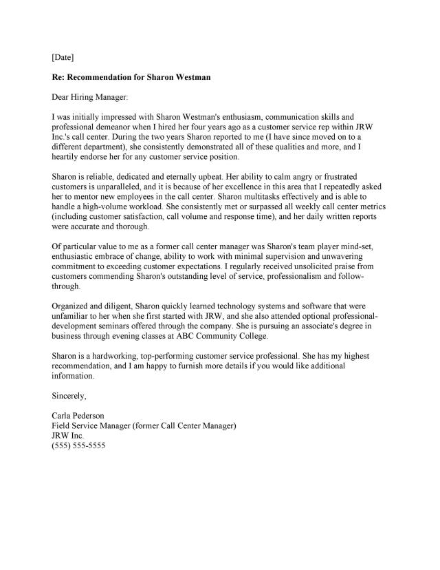 Letter Of Recommendation Templates
