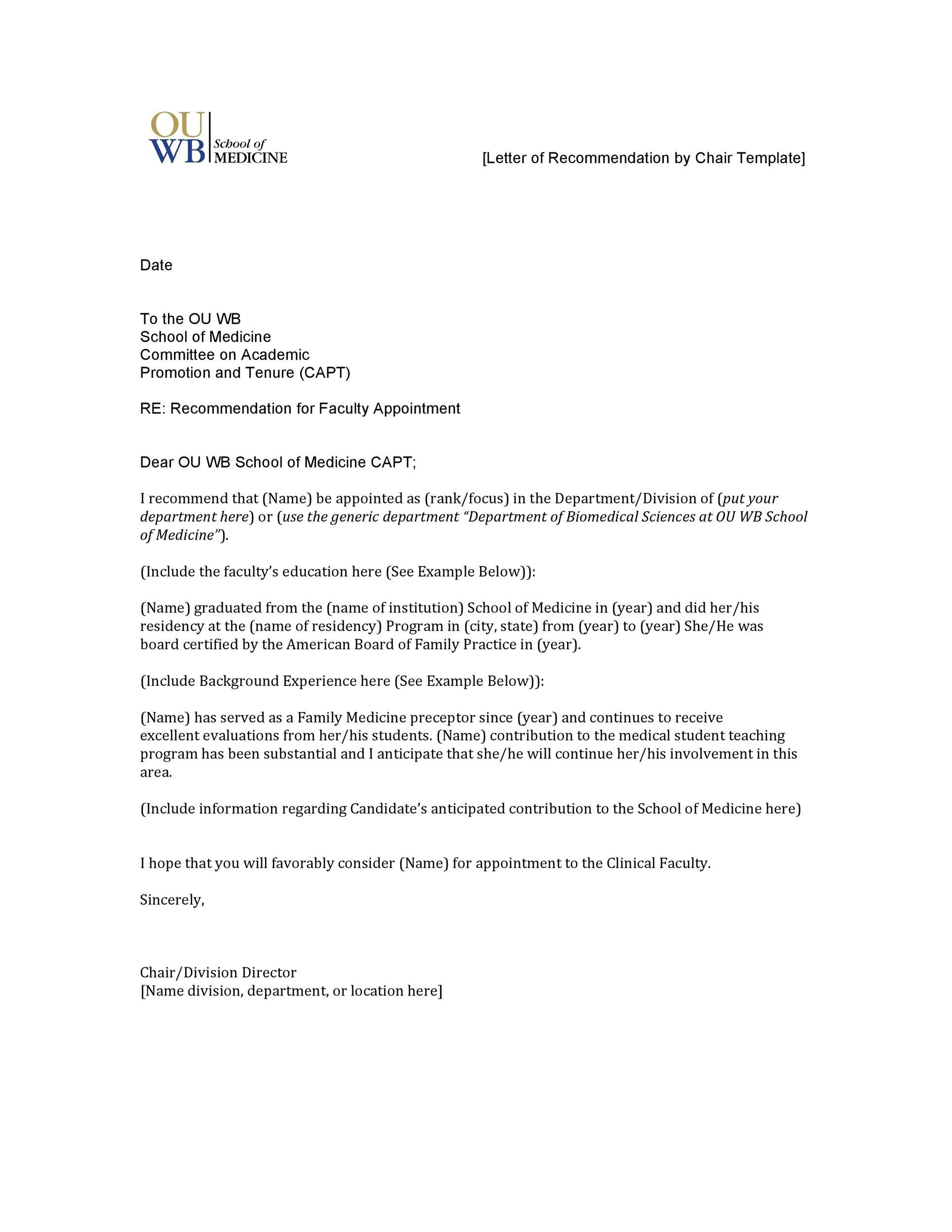 43 FREE Letter of Recommendation Templates  Samples