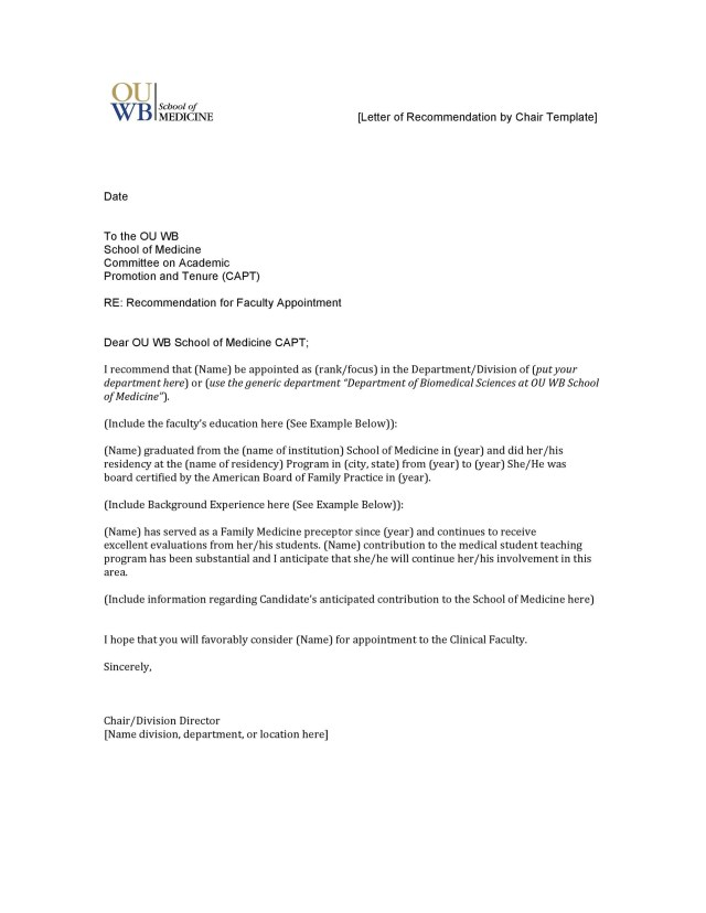 Template For Letters Of Recommendation