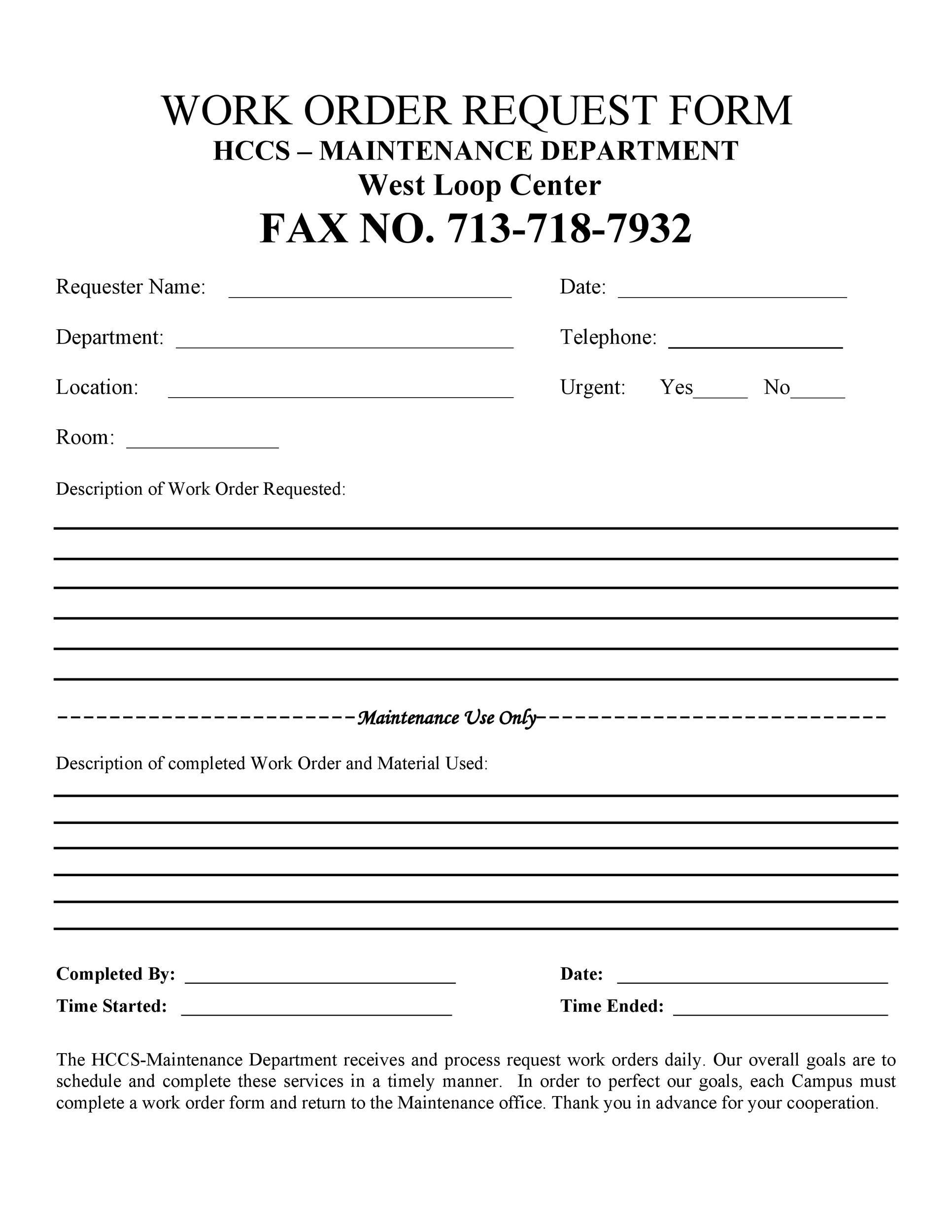 40 Order Form Templates Work Order Change Order More