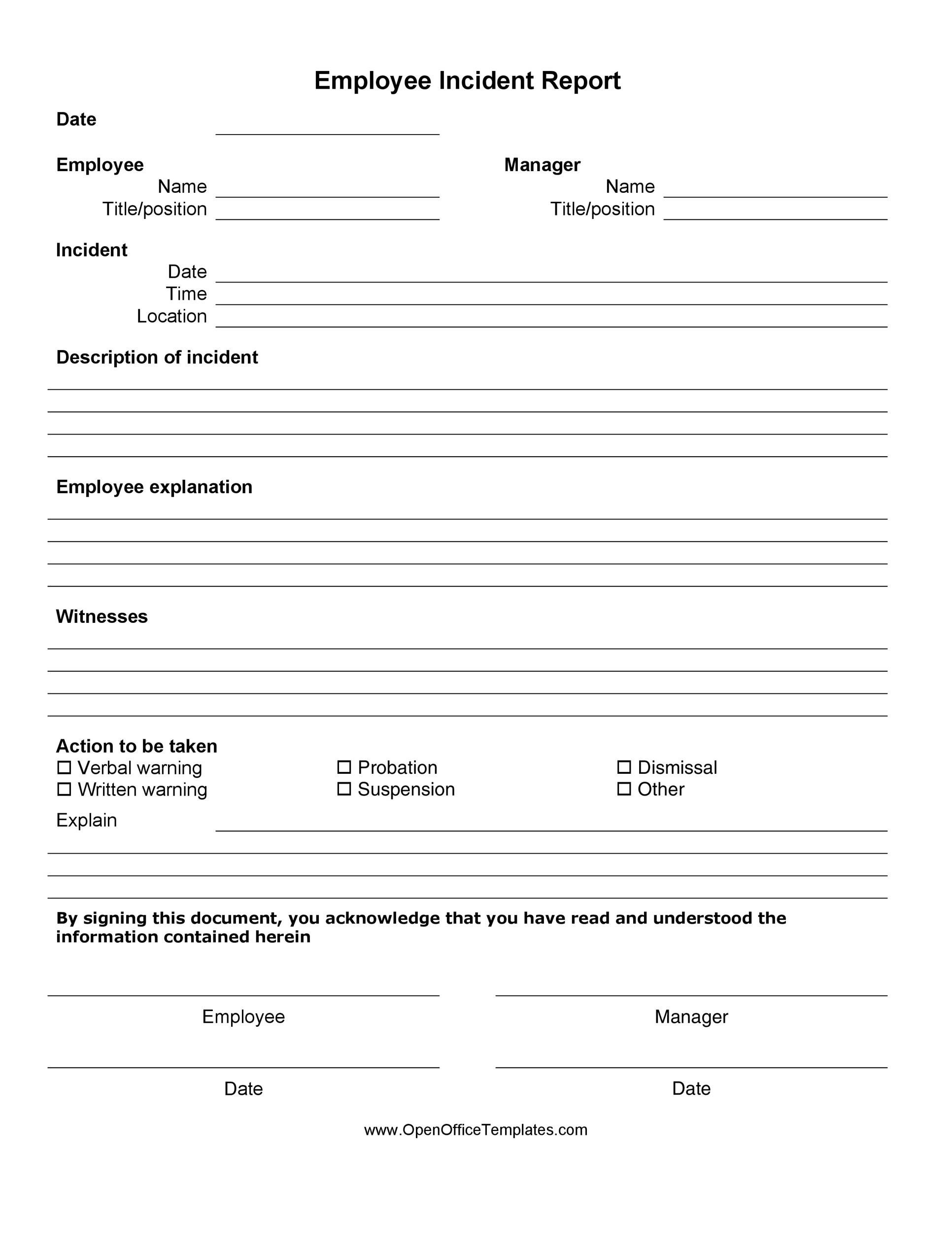 Template for financial institutions to report incidents to mas, including incidents relating to it systems, cyber security, information loss and liquidity. 60 Incident Report Template Employee Police Generic Á… Templatelab
