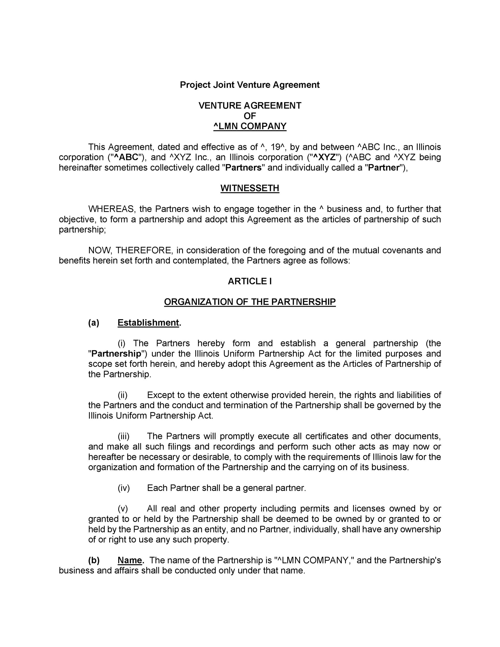 """(h) """"jvc"""" means the joint venture company to be jointly promoted by the parties hereto in accordance with and as indicated in this agreement. 53 Simple Joint Venture Agreement Templates Pdf Doc Á… Templatelab"""