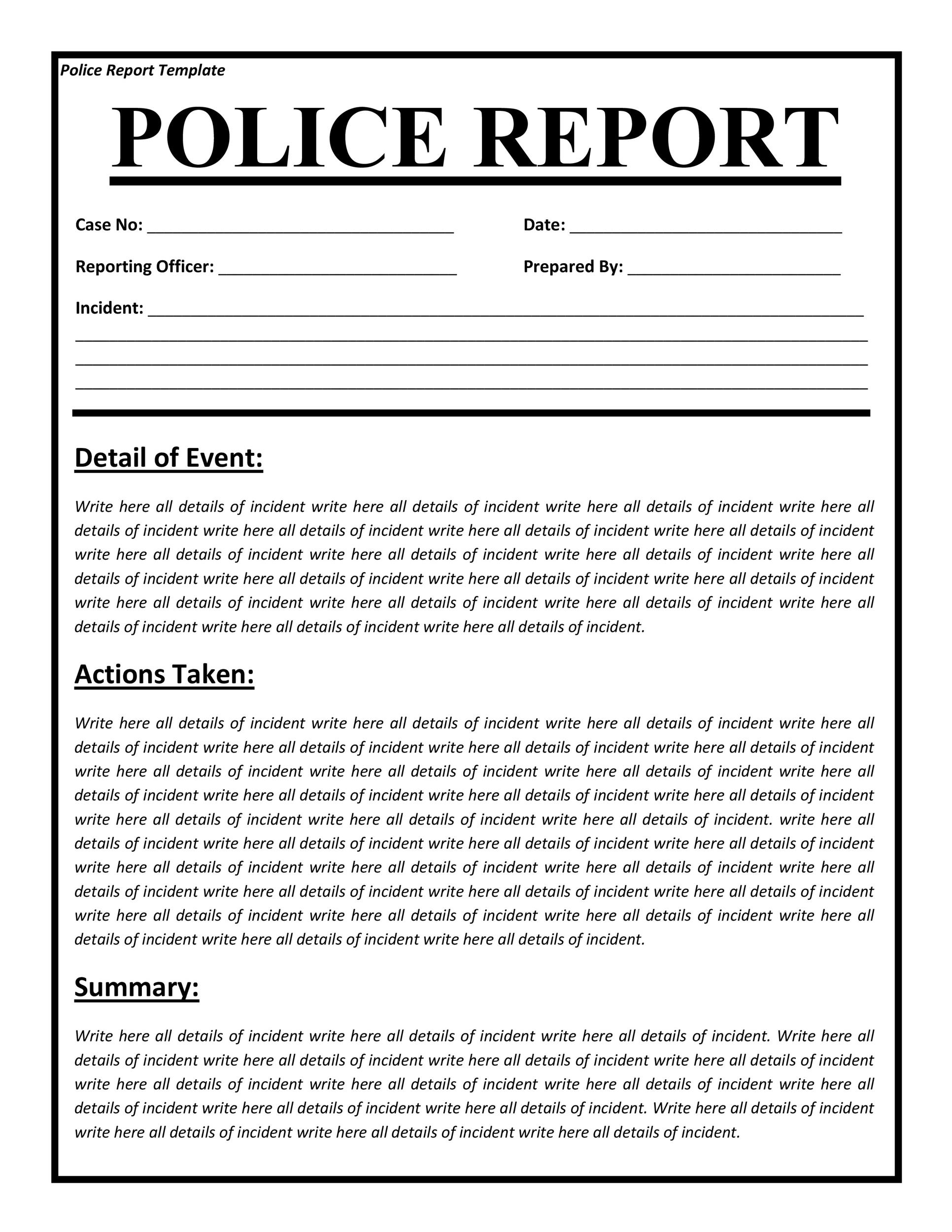 20 Police Report Template Amp Examples Fake Real