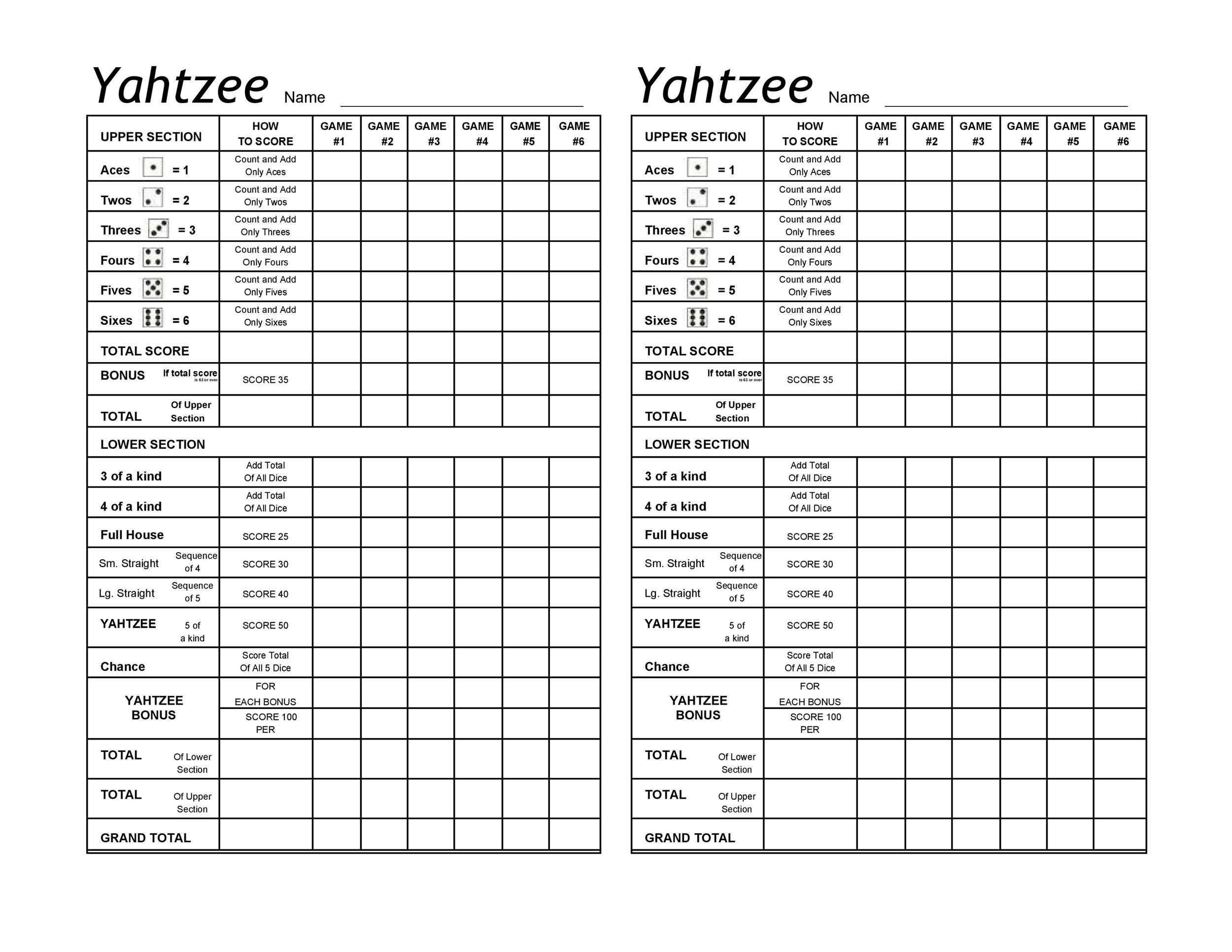 image regarding Yahtzee Score Sheets Printable called yahtzee rating card pdf