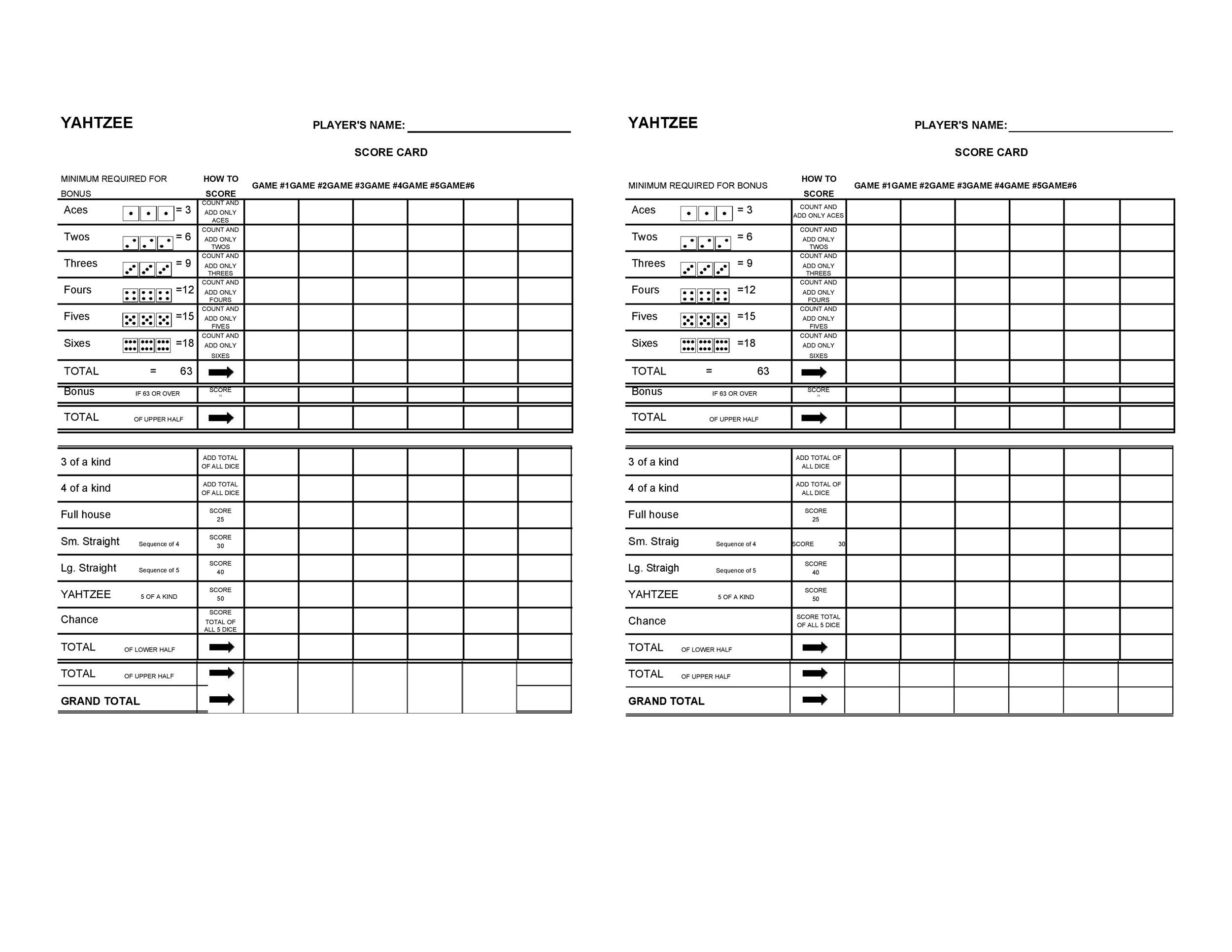 28 Printable Yahtzee Score Sheets & Cards (101% FREE