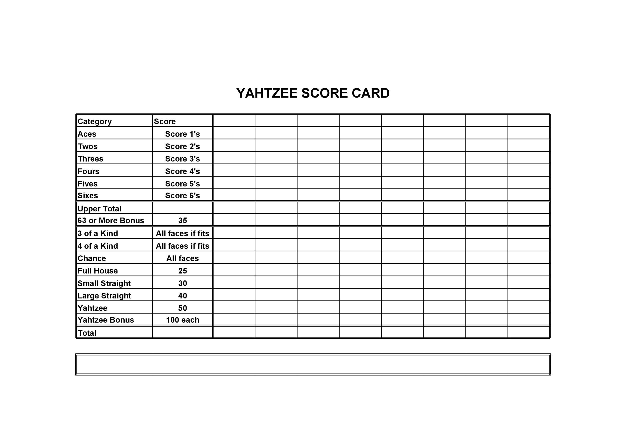 graphic relating to Printable Yatzee Score Sheets named Printable Yahtzee Rating Card Pdf