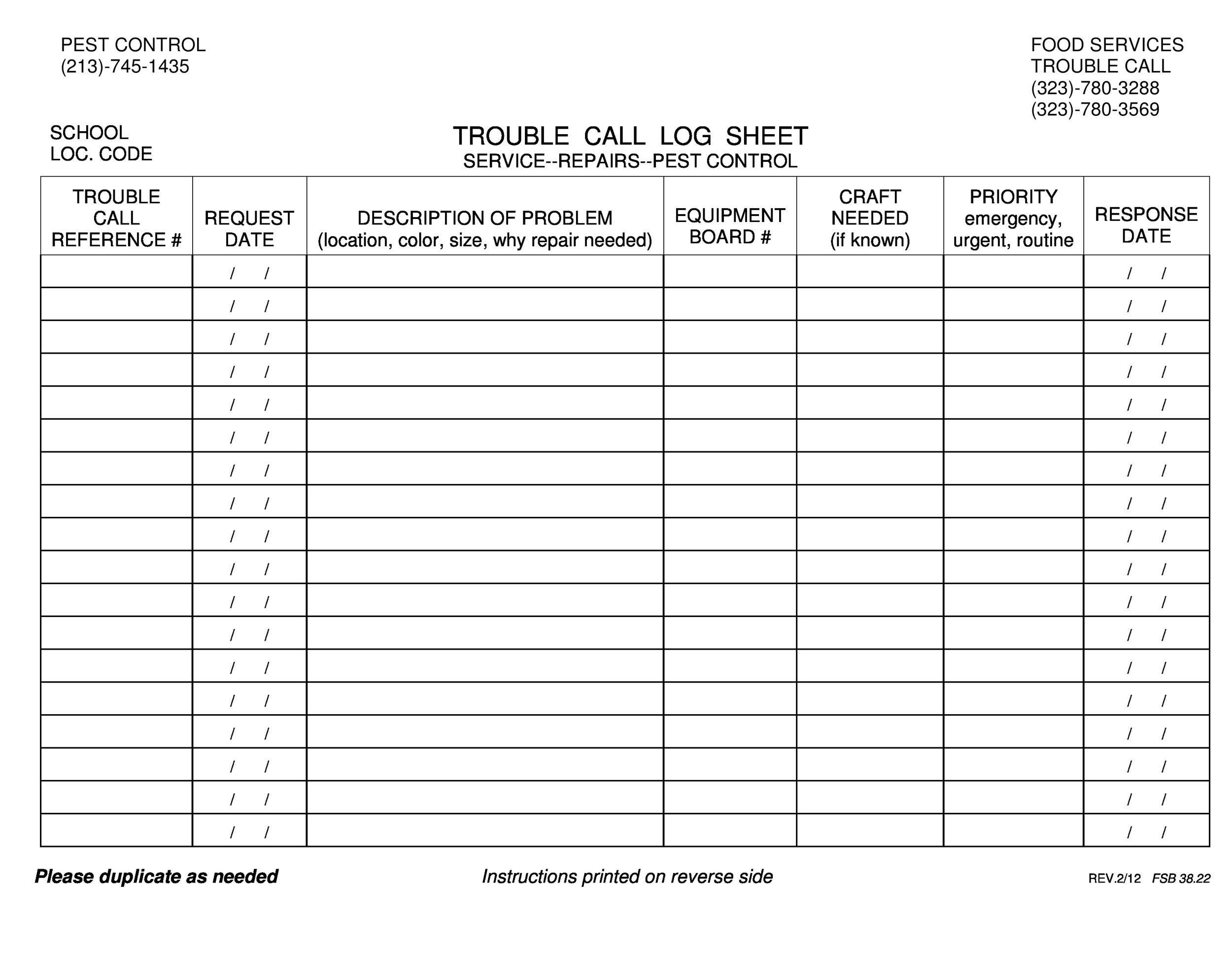 40 Printable Call Log Templates Word Excel