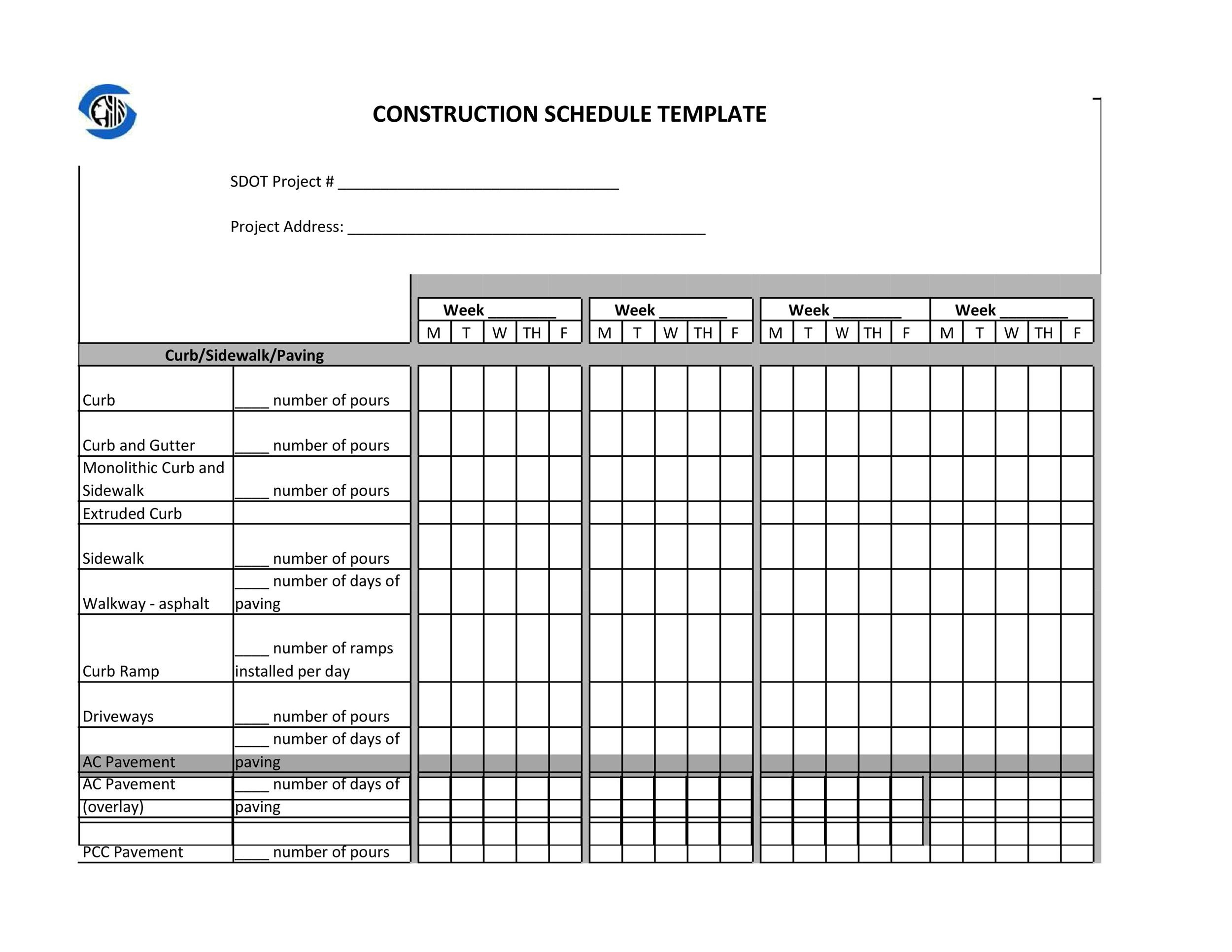 23 Construction Schedule Templates In Word Amp Excel