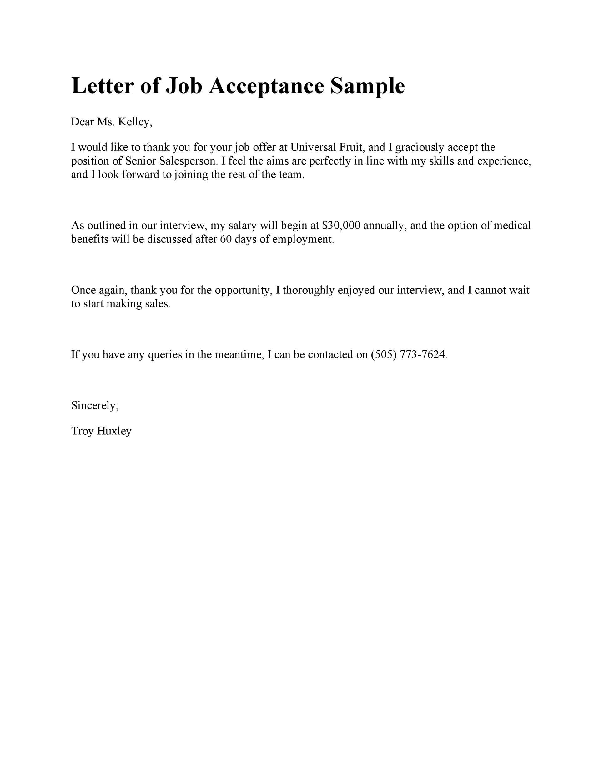 Free Job Acceptance Letter 17