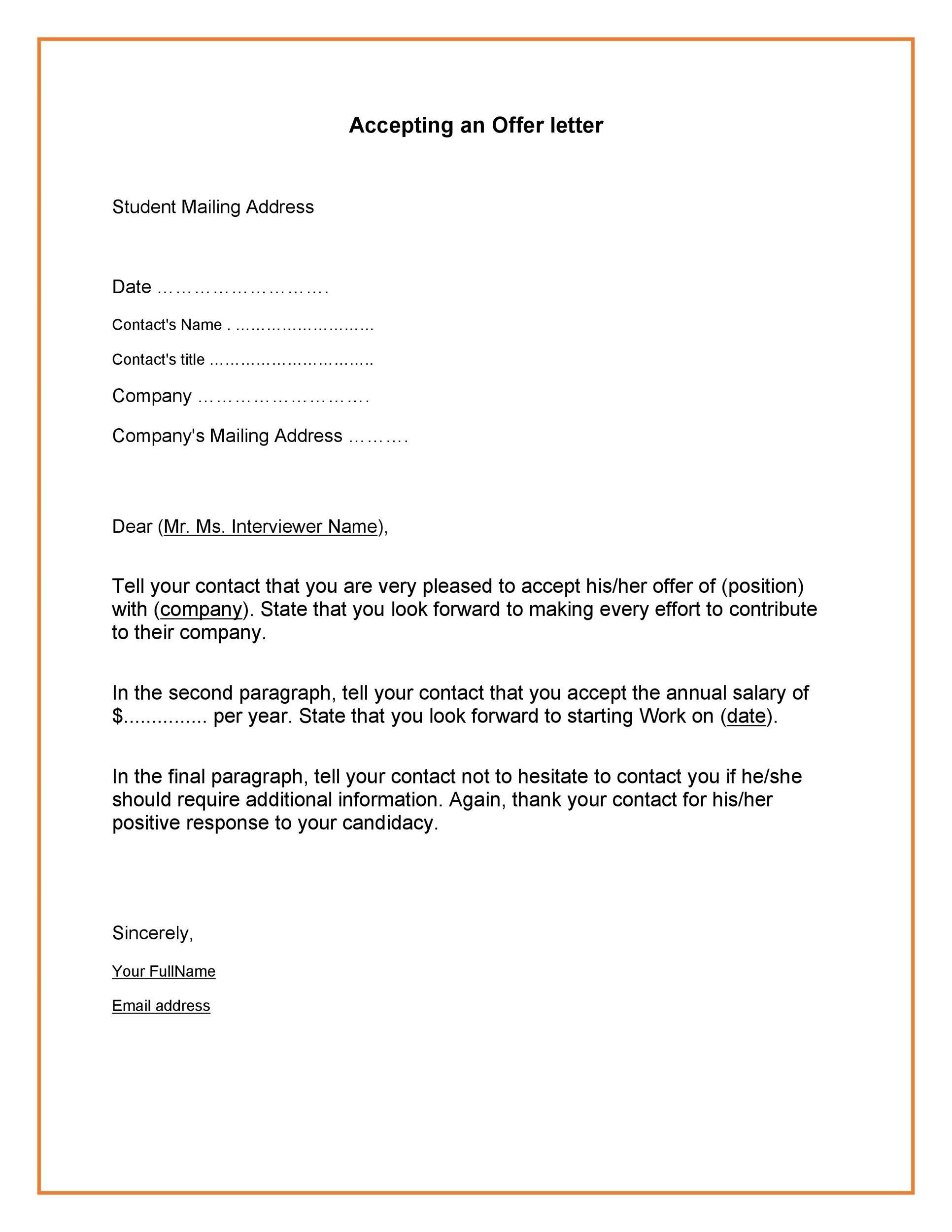40 Professional Job Offer Acceptance Letter  Email
