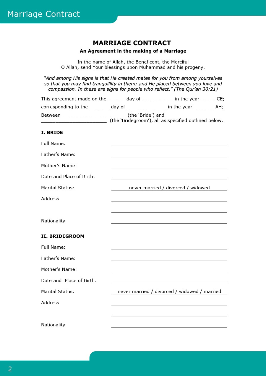 Free Marriage Contract Template 01