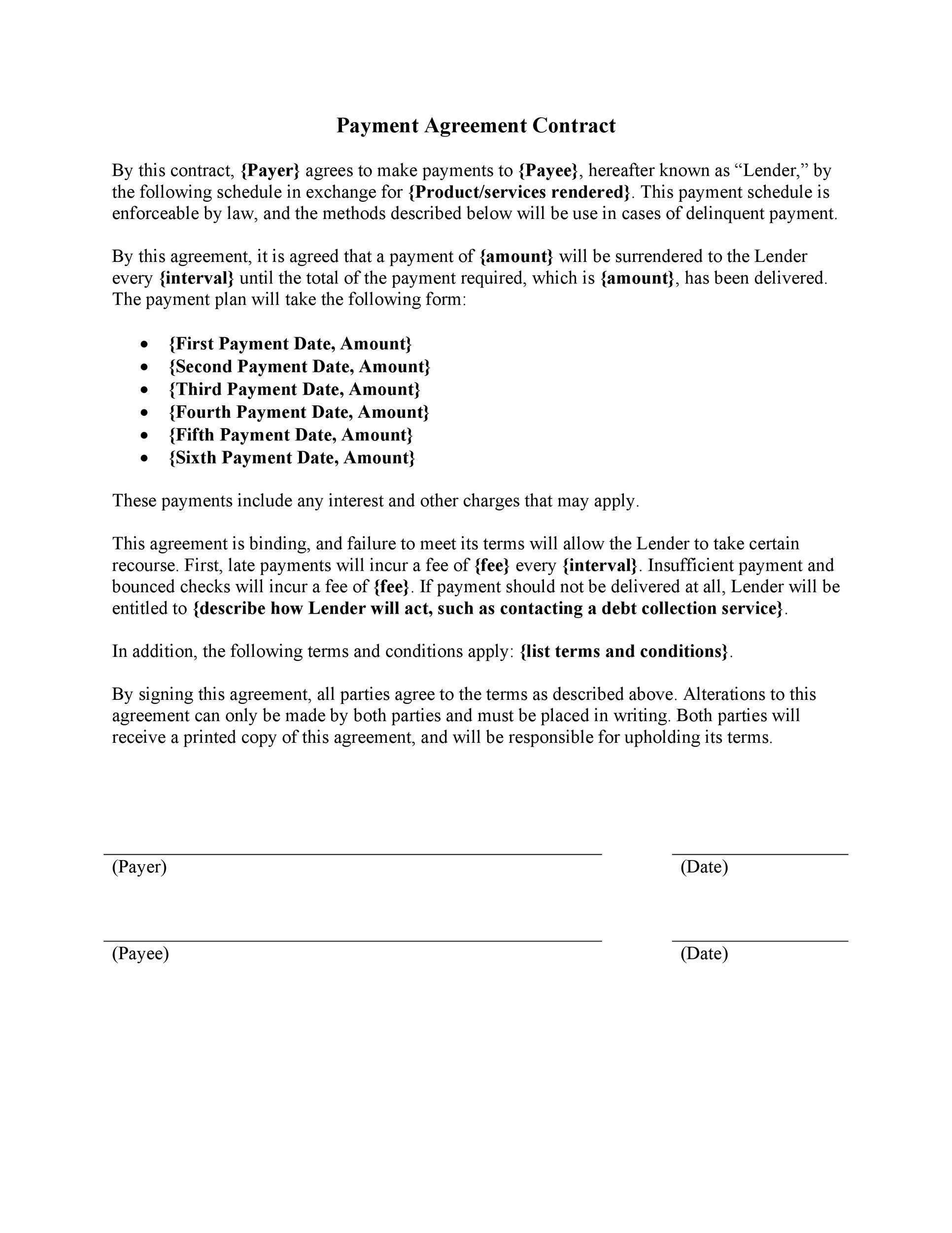 Payment Agreement 40 Templates Contracts Template Lab Rh Templatelab Com  Free Printable Home Purchase Agreement Free