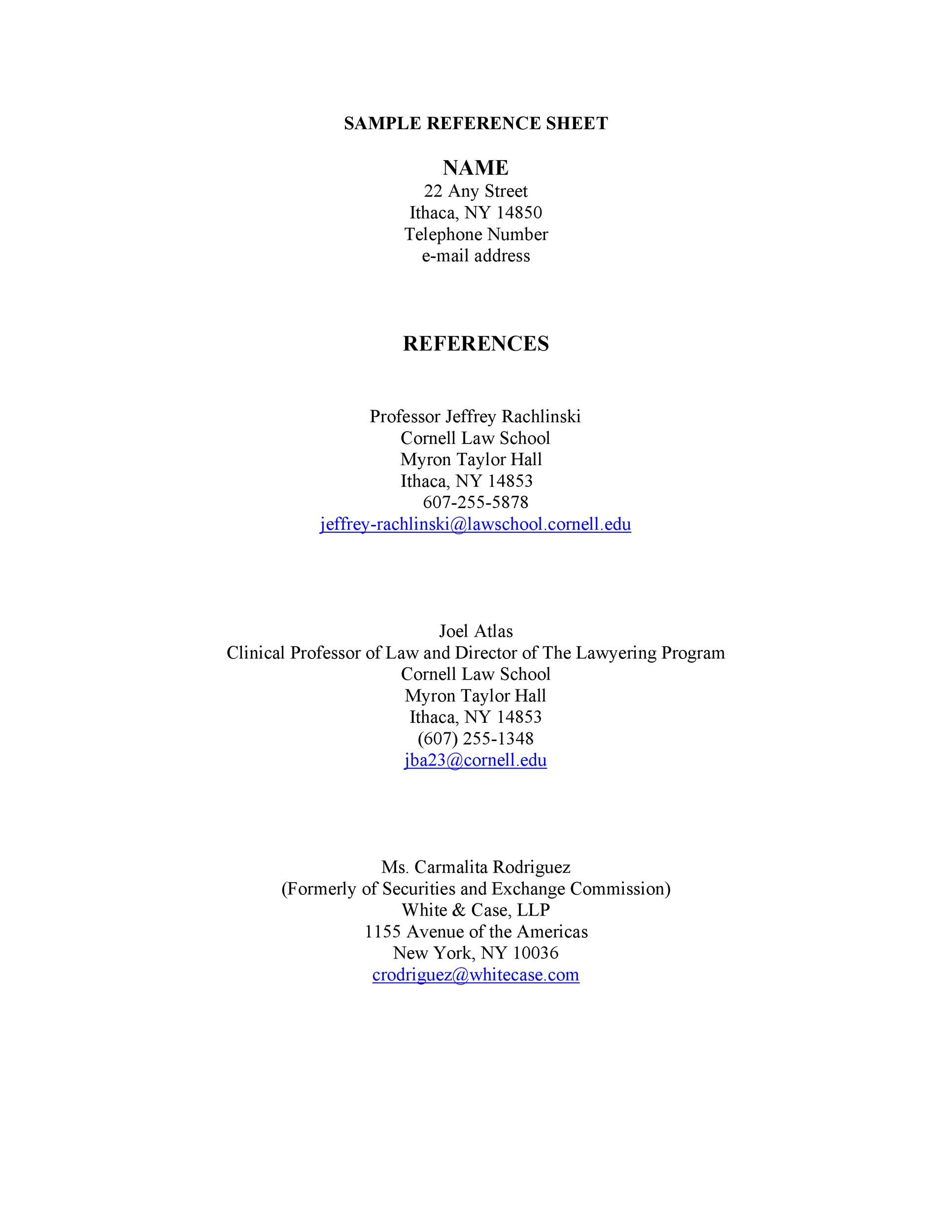 40 Professional Reference Page  Sheet Templates  Template Lab