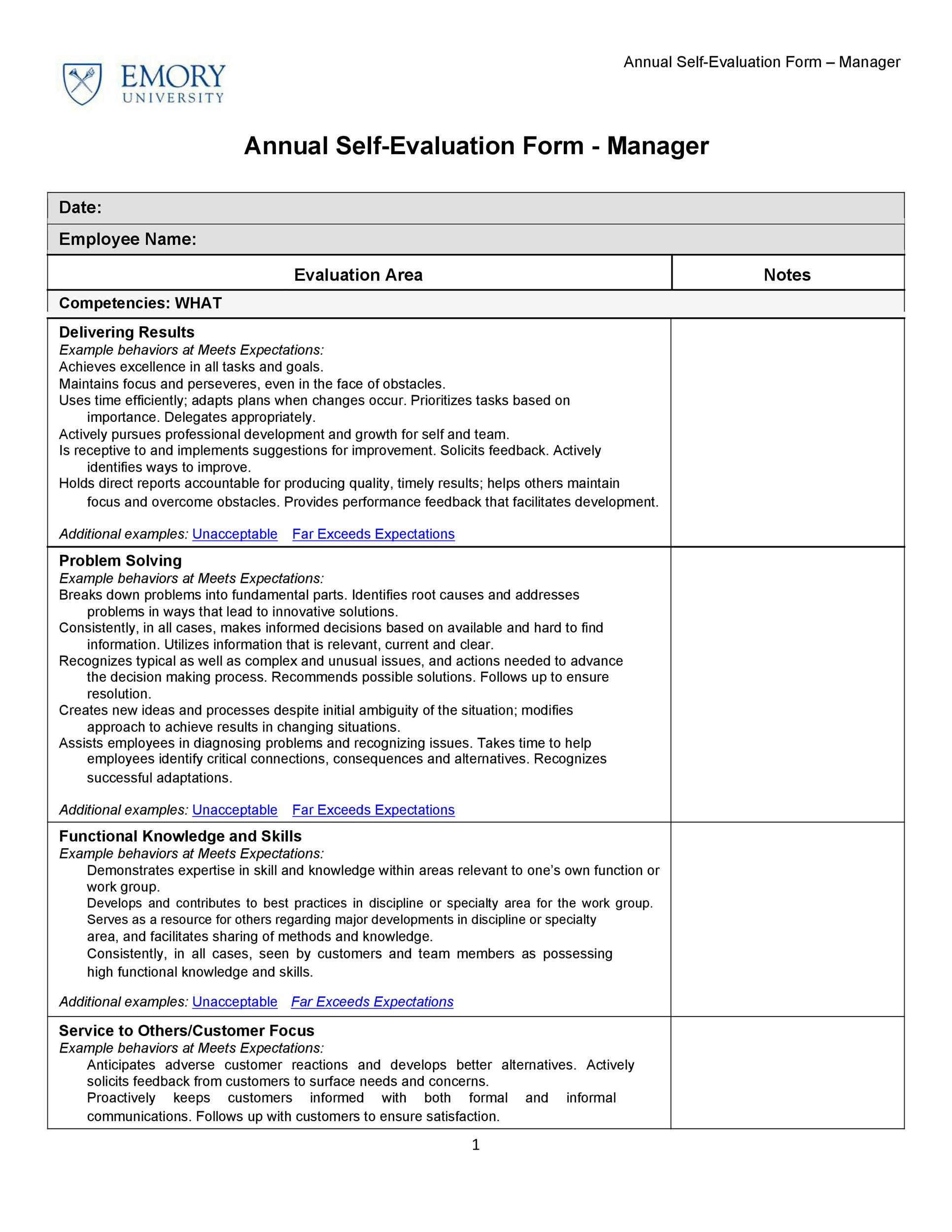 50 Self Evaluation Examples Forms Amp Questions Templatelab