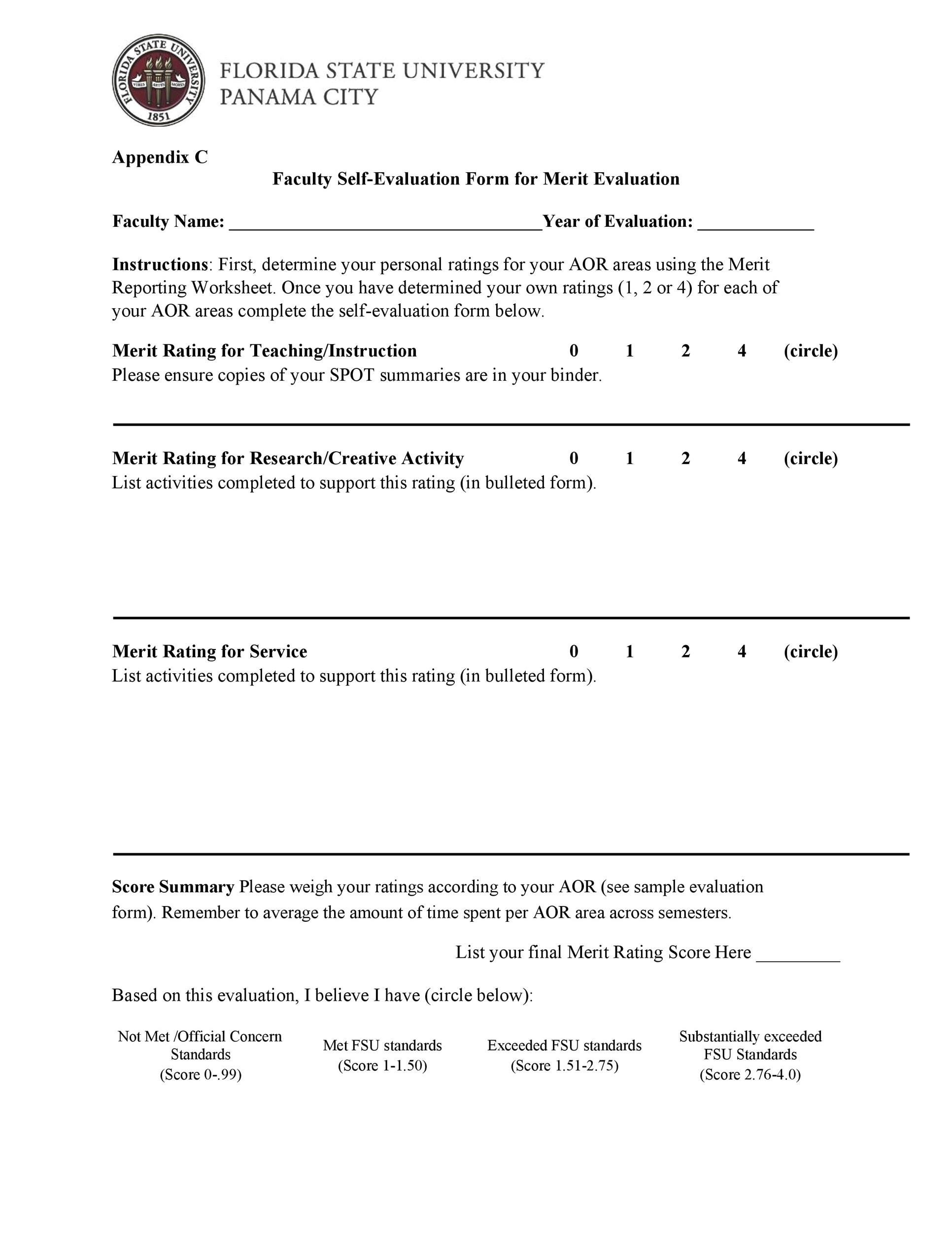 50 Self Evaluation Examples Forms & Questions Template Lab
