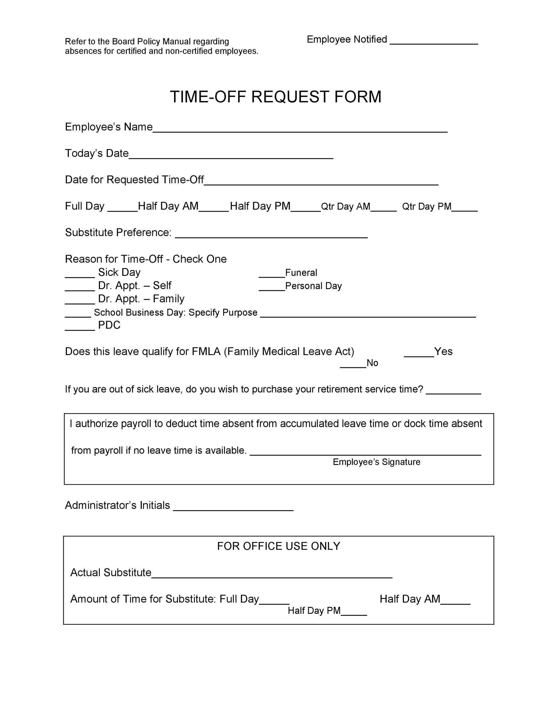40 Effective Time Off Request Forms Templates ᐅ Templatelab