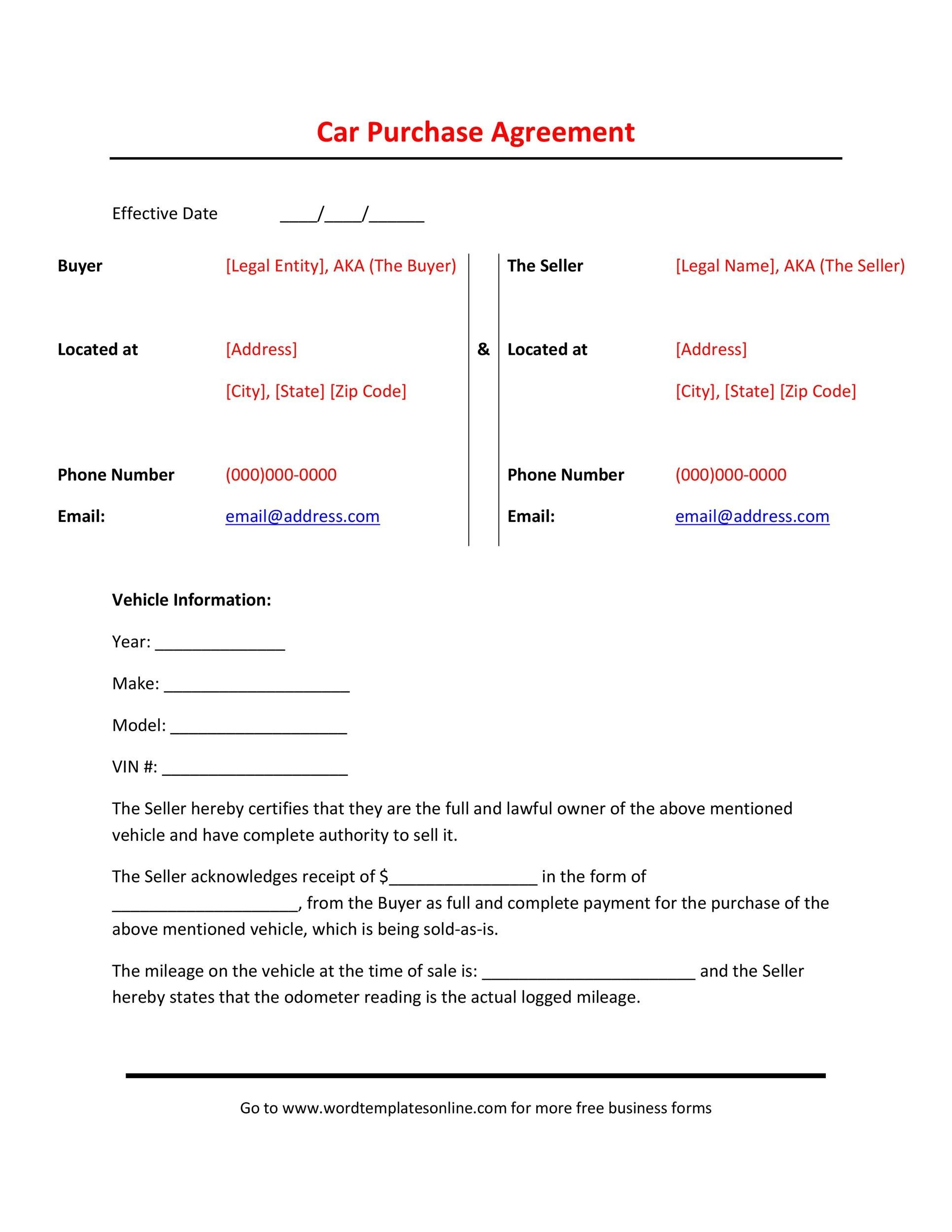 Free Vehicle Purchase Agreement 23