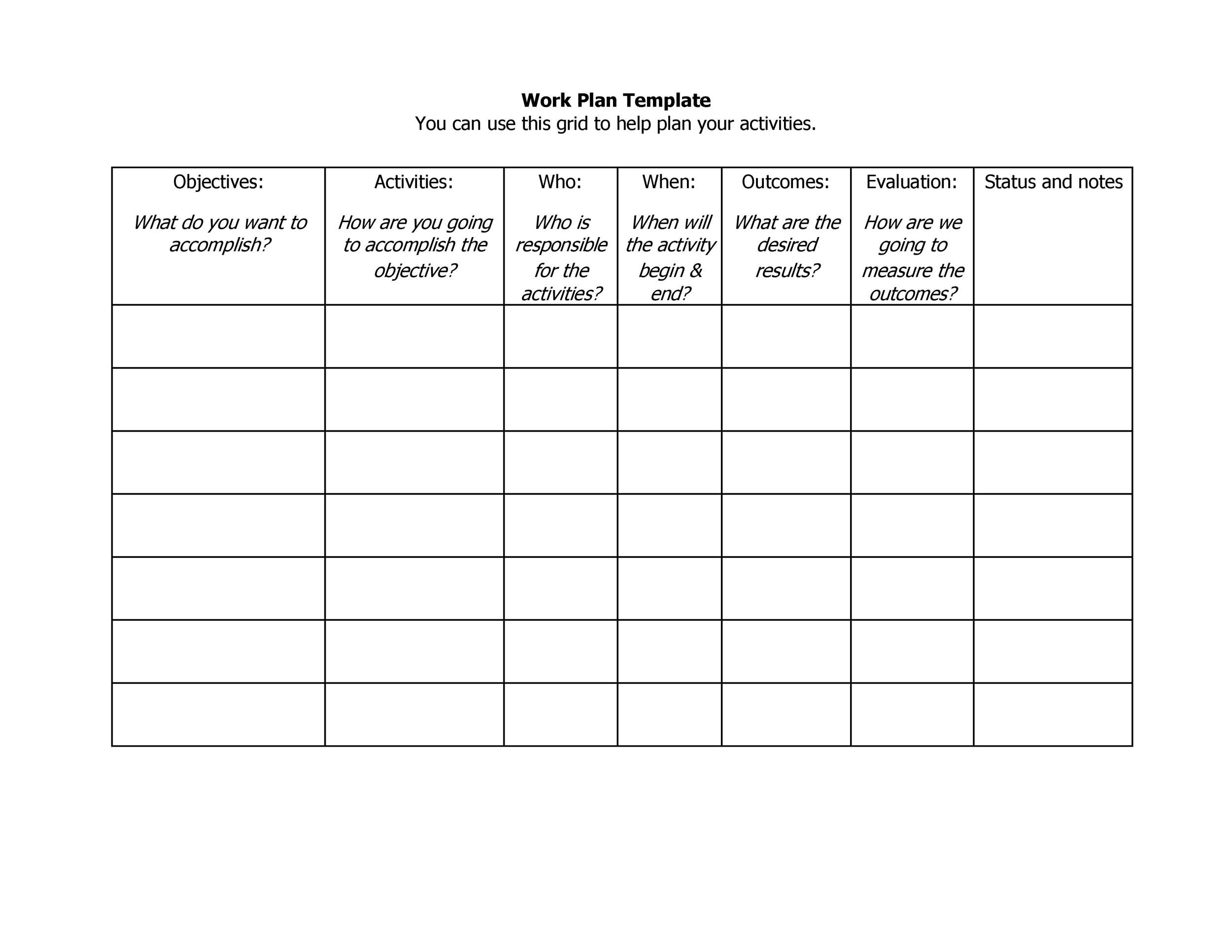 Work Plan - 40 Great Templates & Samples (Excel / Word) - Template Lab