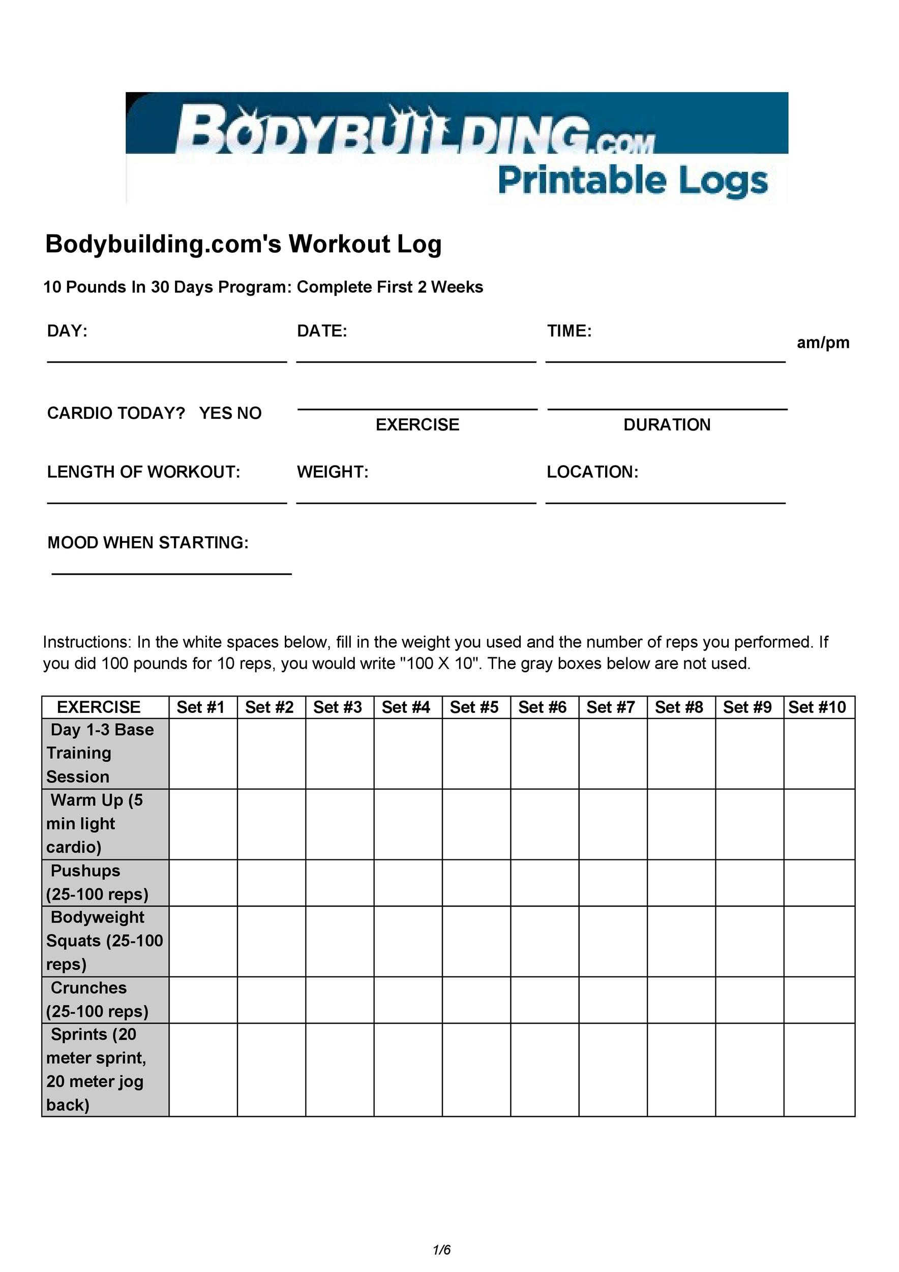 bodybuilding printable logs