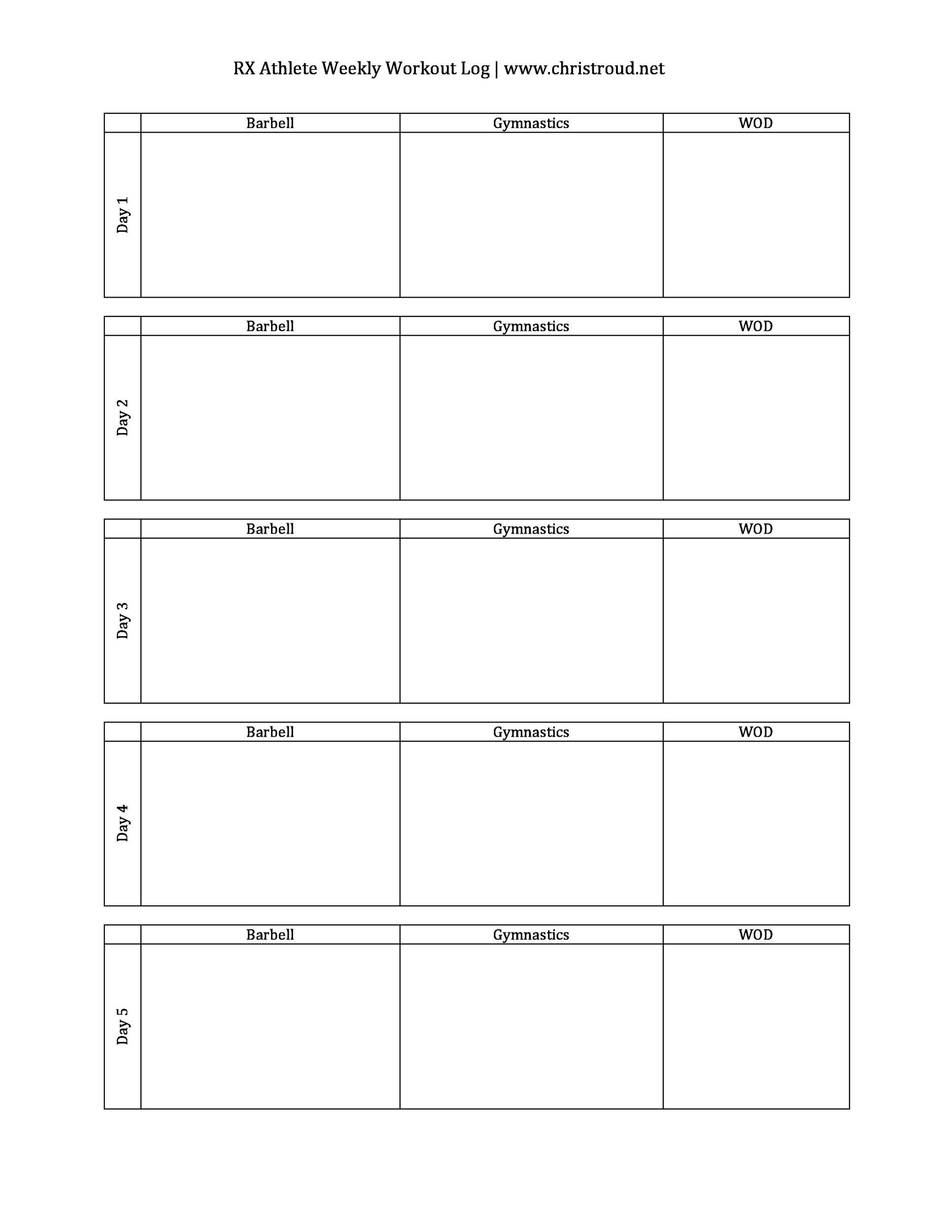 40 Effective Workout Log Amp Calendar Templates Templatelab