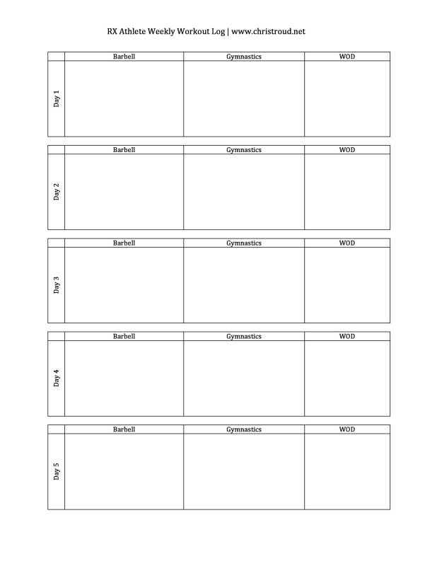 Printable Weekly Workout Log Template | Viewyoga.co