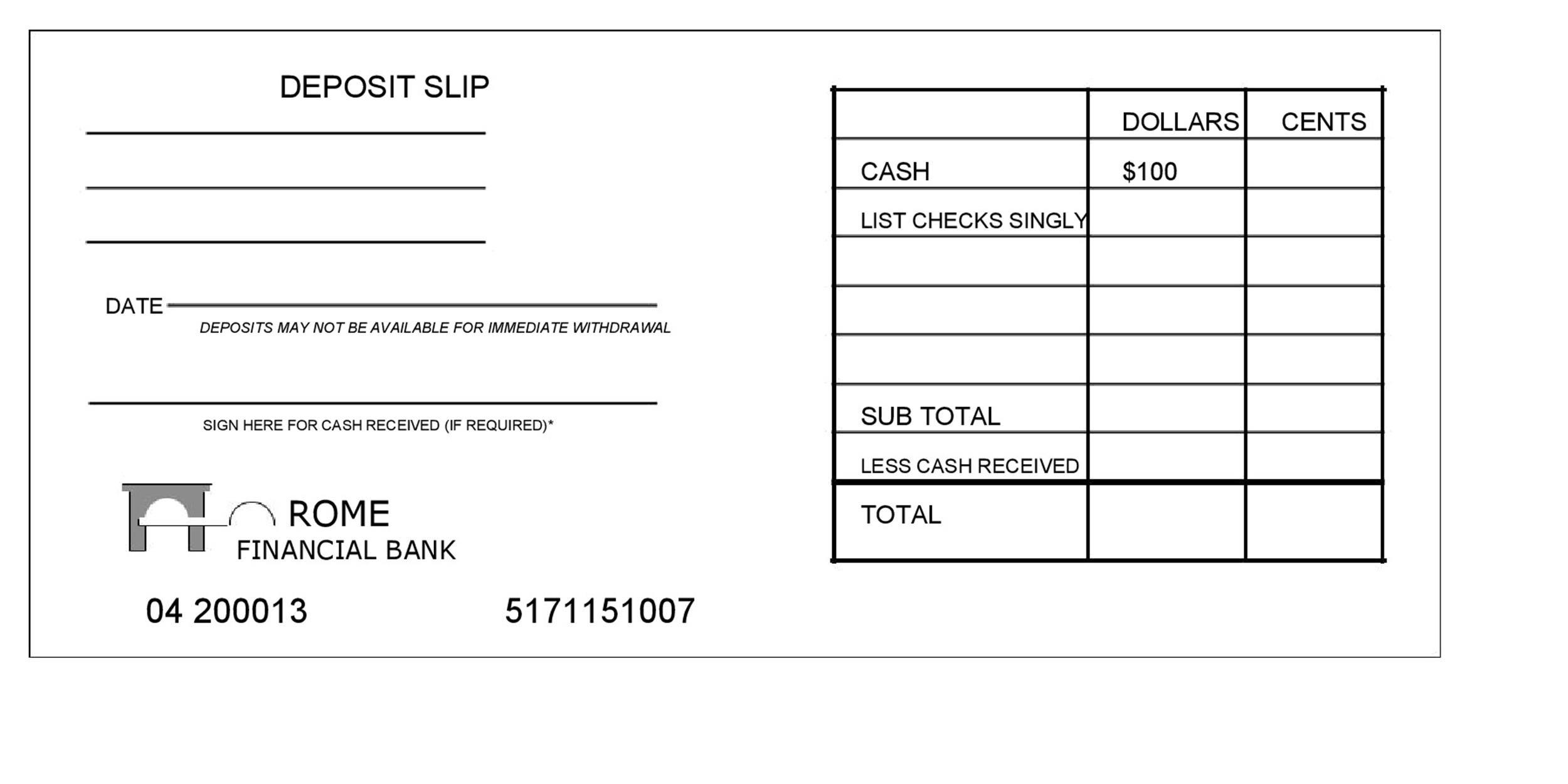 37 Bank Deposit Slip Templates Amp Examples Templatelab