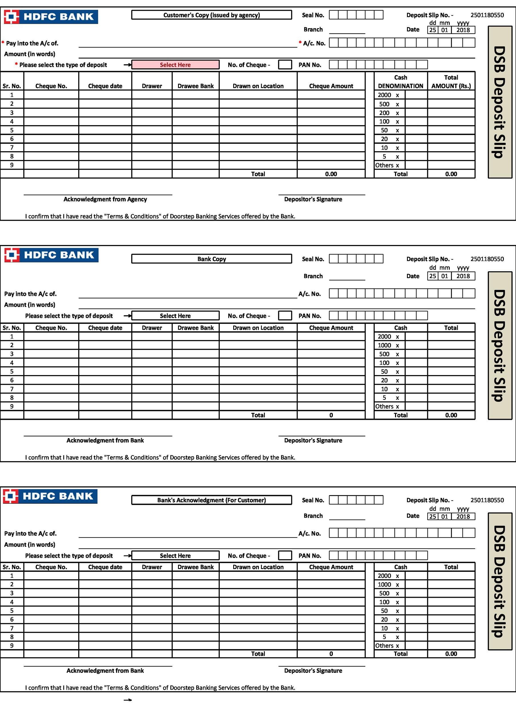 Hdfc Bank Deposit Slip New : deposit, Deposit, Fillable, Cheque, Formation, Power, Shoppers!, Coloring, Pages
