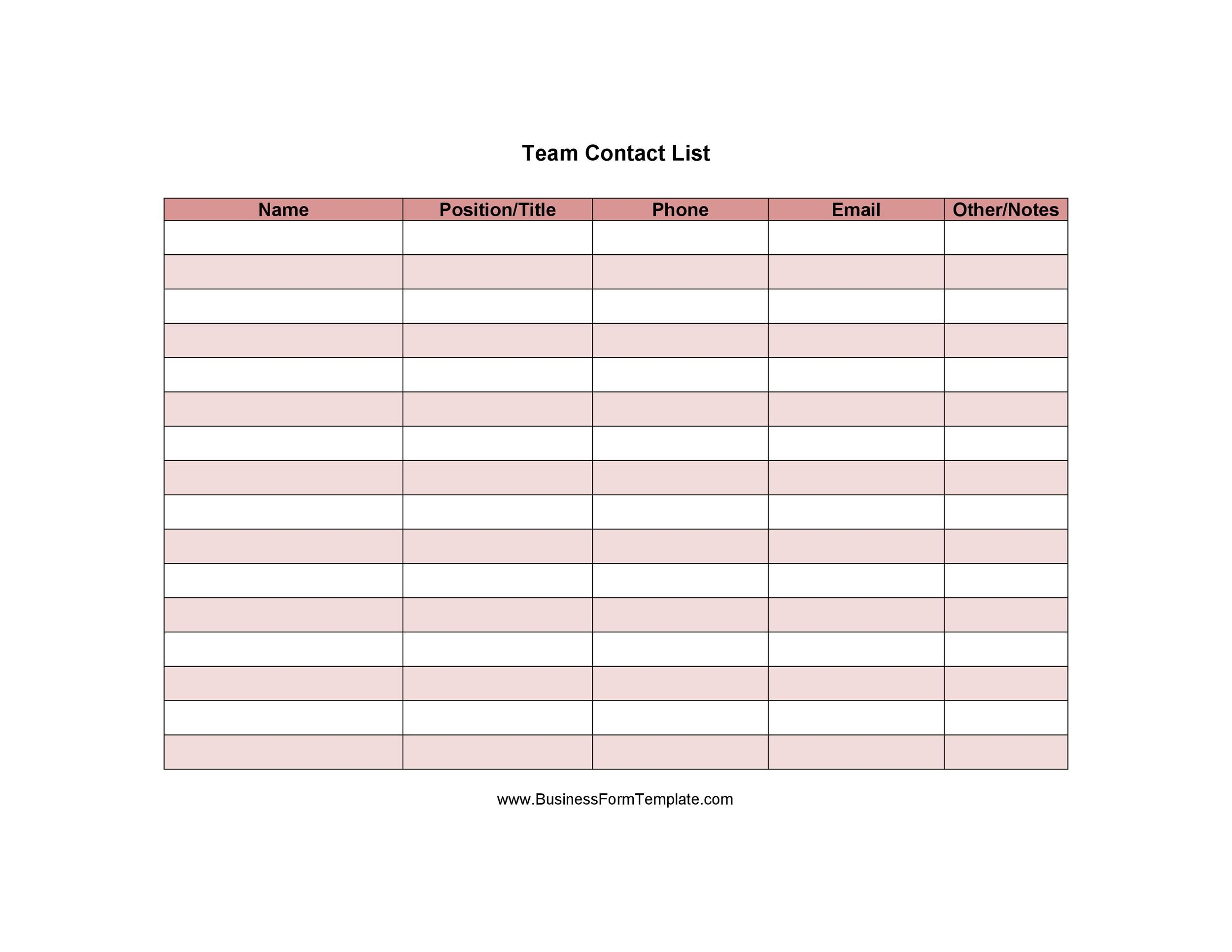 At the office, don't think that the computer is the only tool you need. 40 Phone Email Contact List Templates Word Excel Á… Templatelab