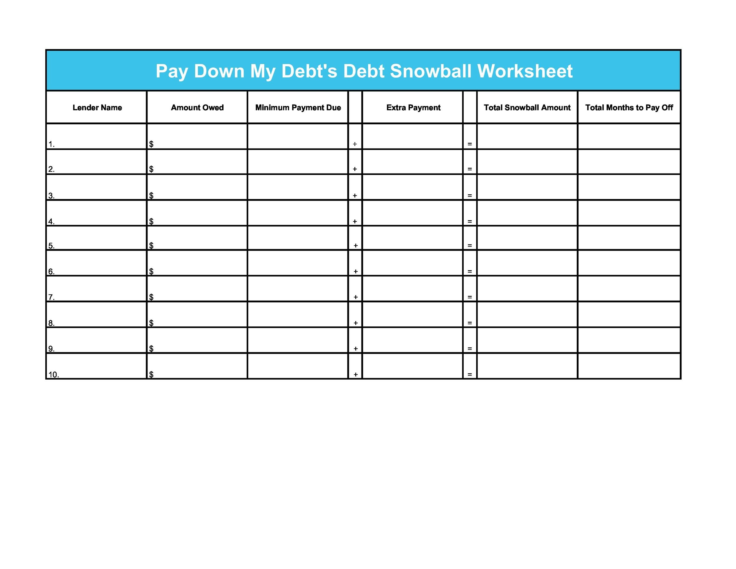 38 Debt Snowball Spreadsheets Forms Amp Calculators