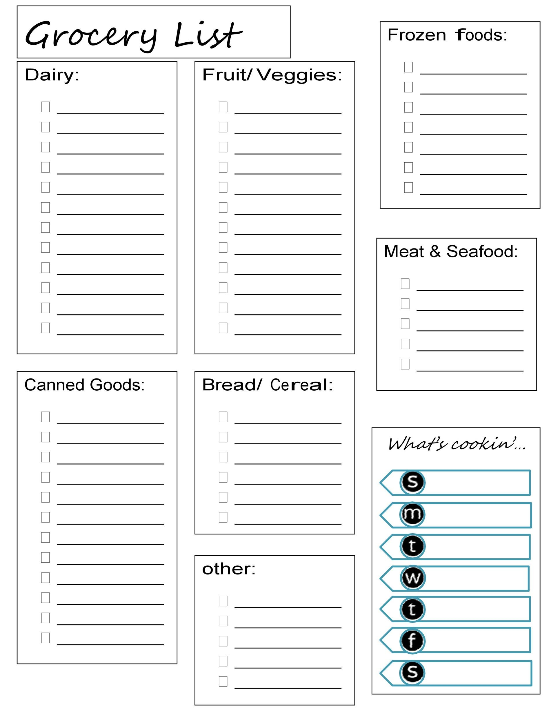 40 Printable Grocery List Templates Shopping List