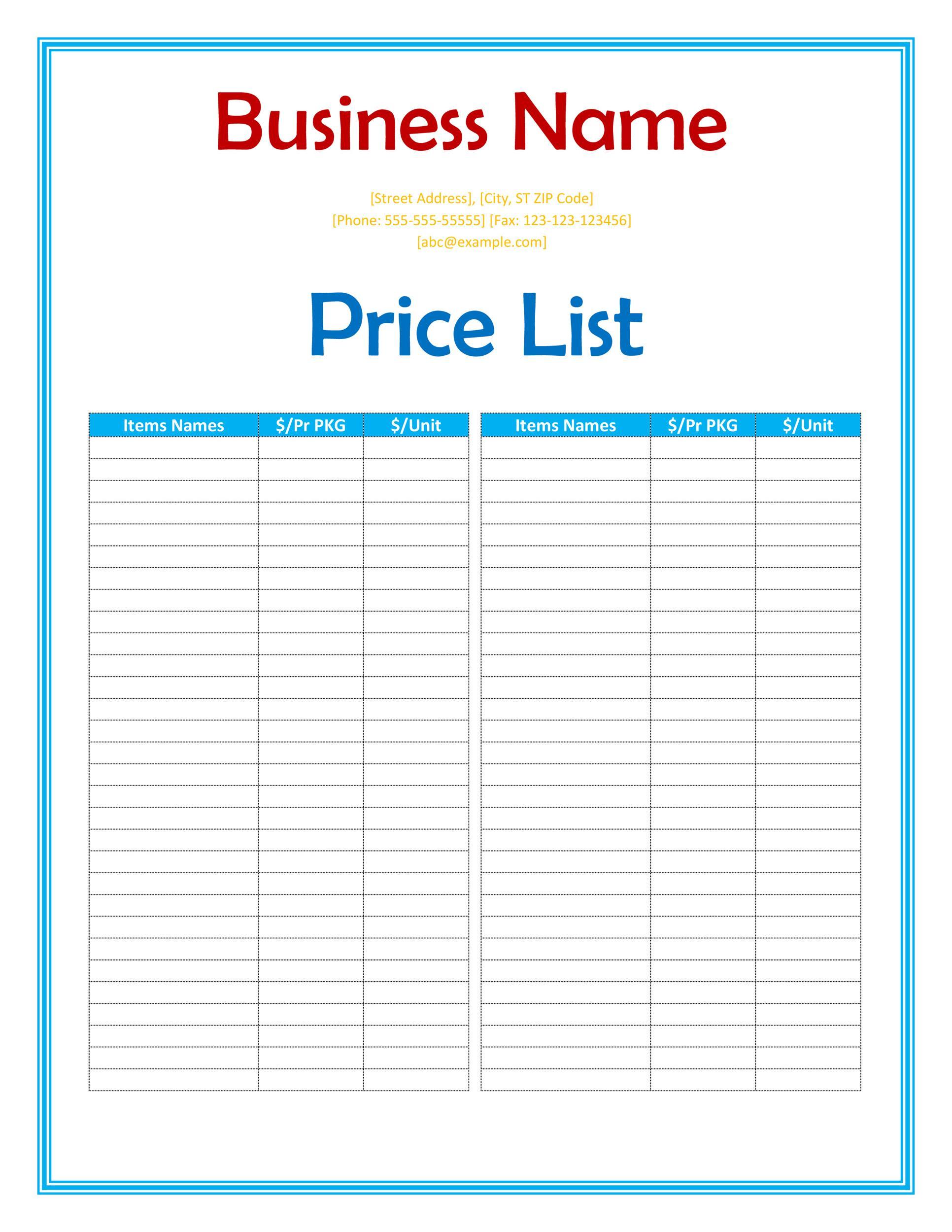pricelist template free