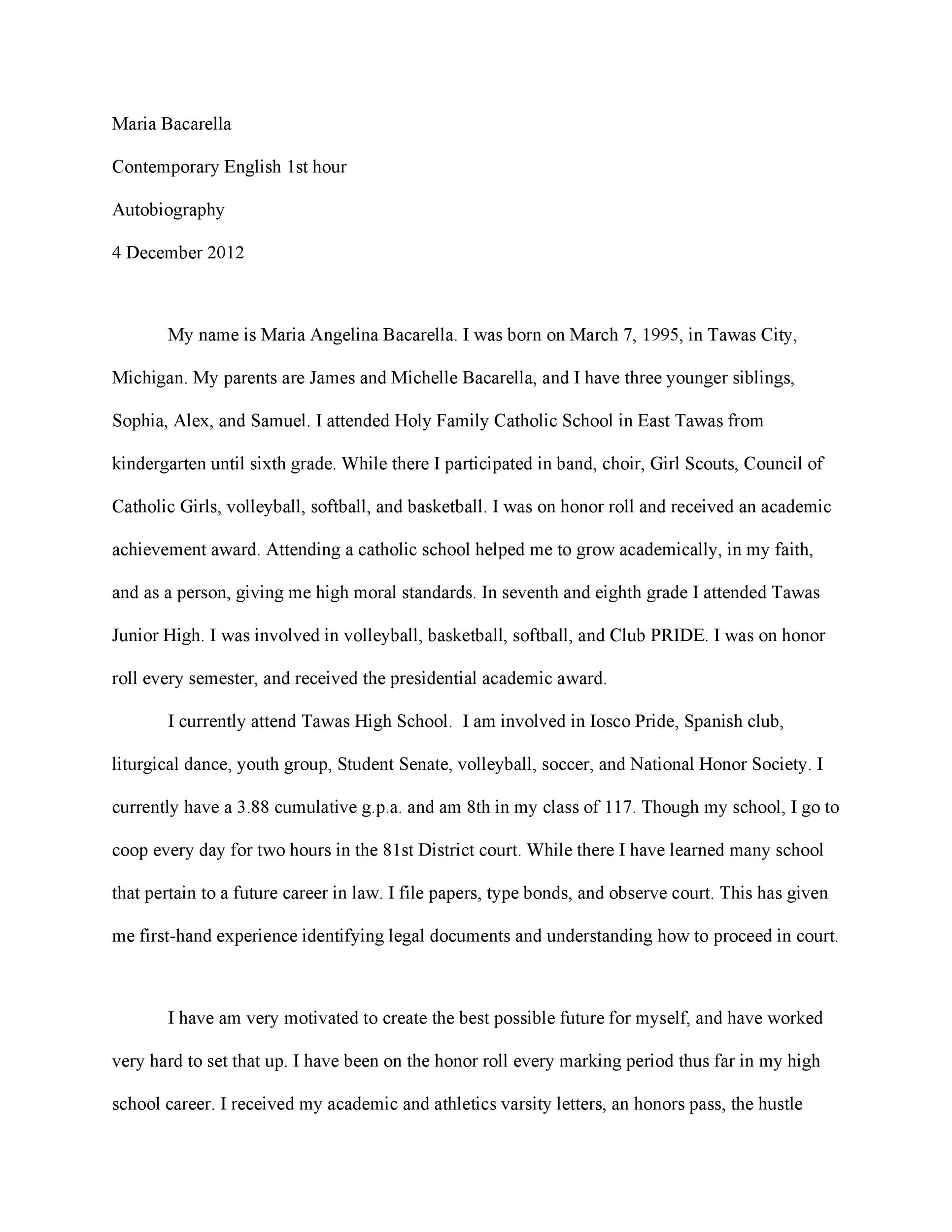 examples of autobiography essays