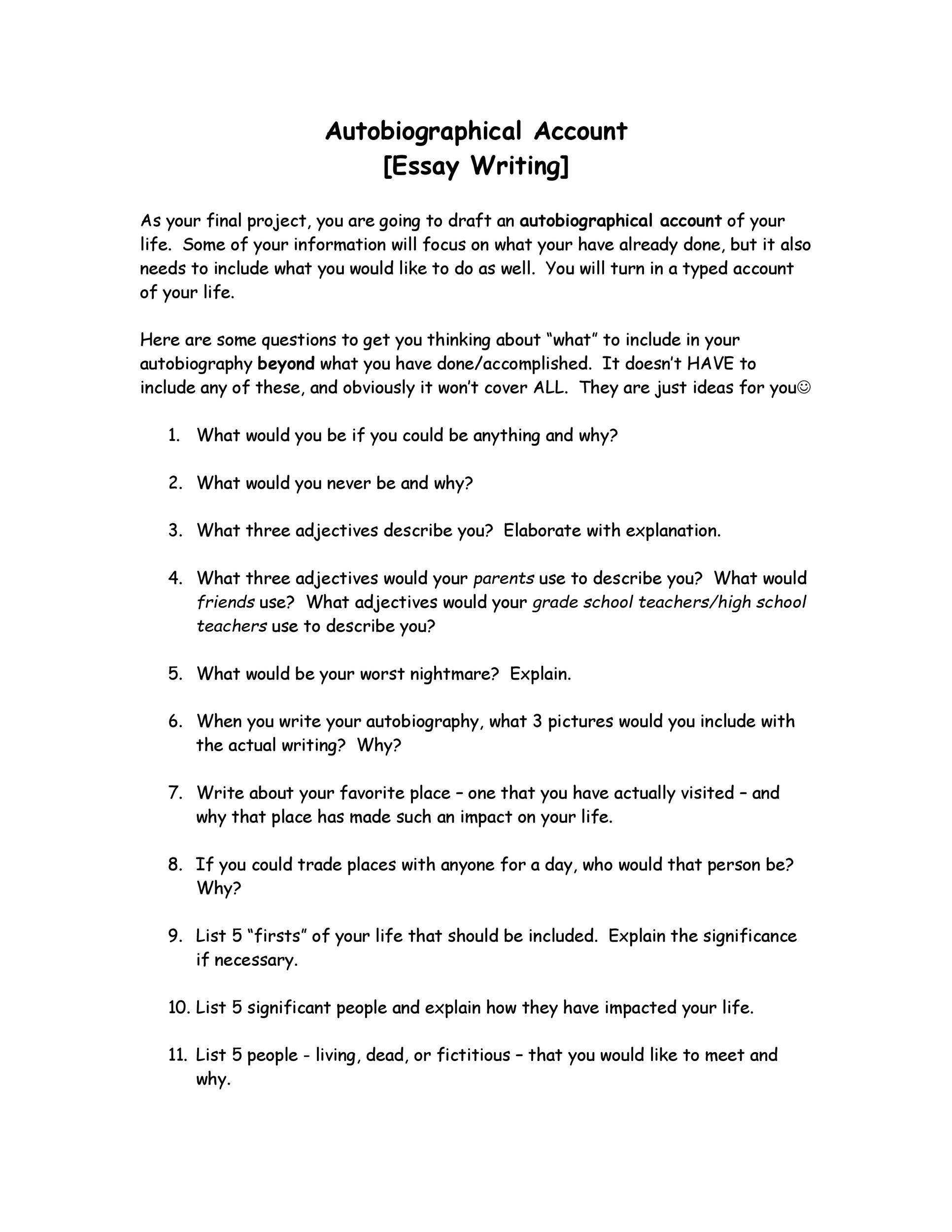 Autobiography Outline Worksheet